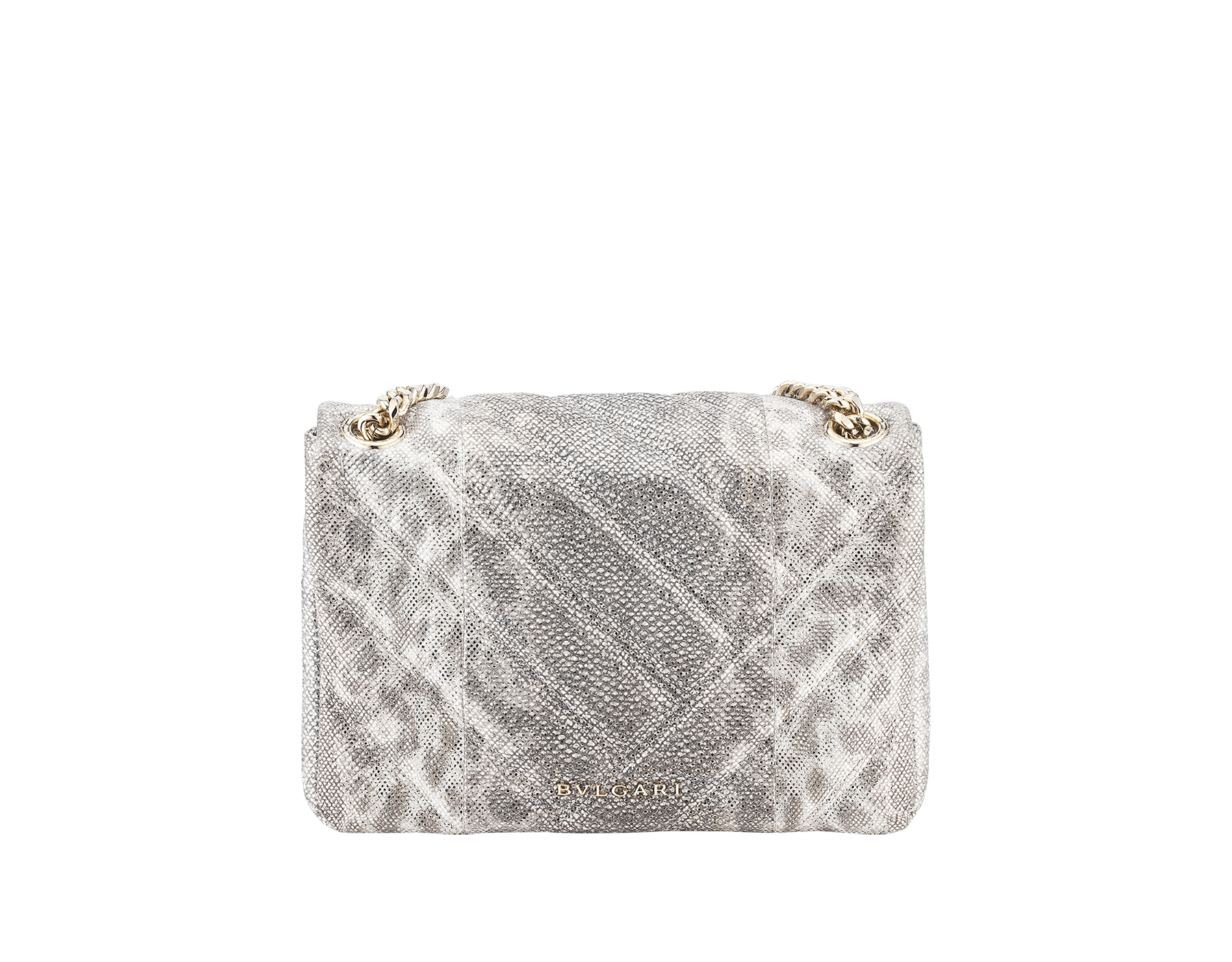 Serpenti Cabochon shoulder bag in soft matelassé charcoal diamond metallic karung skin with graphic motif. Snakehead closure in light gold plated brass decorated with matte black and glitter charcoal diamond enamel, and black onyx eyes. 981-MK image 3