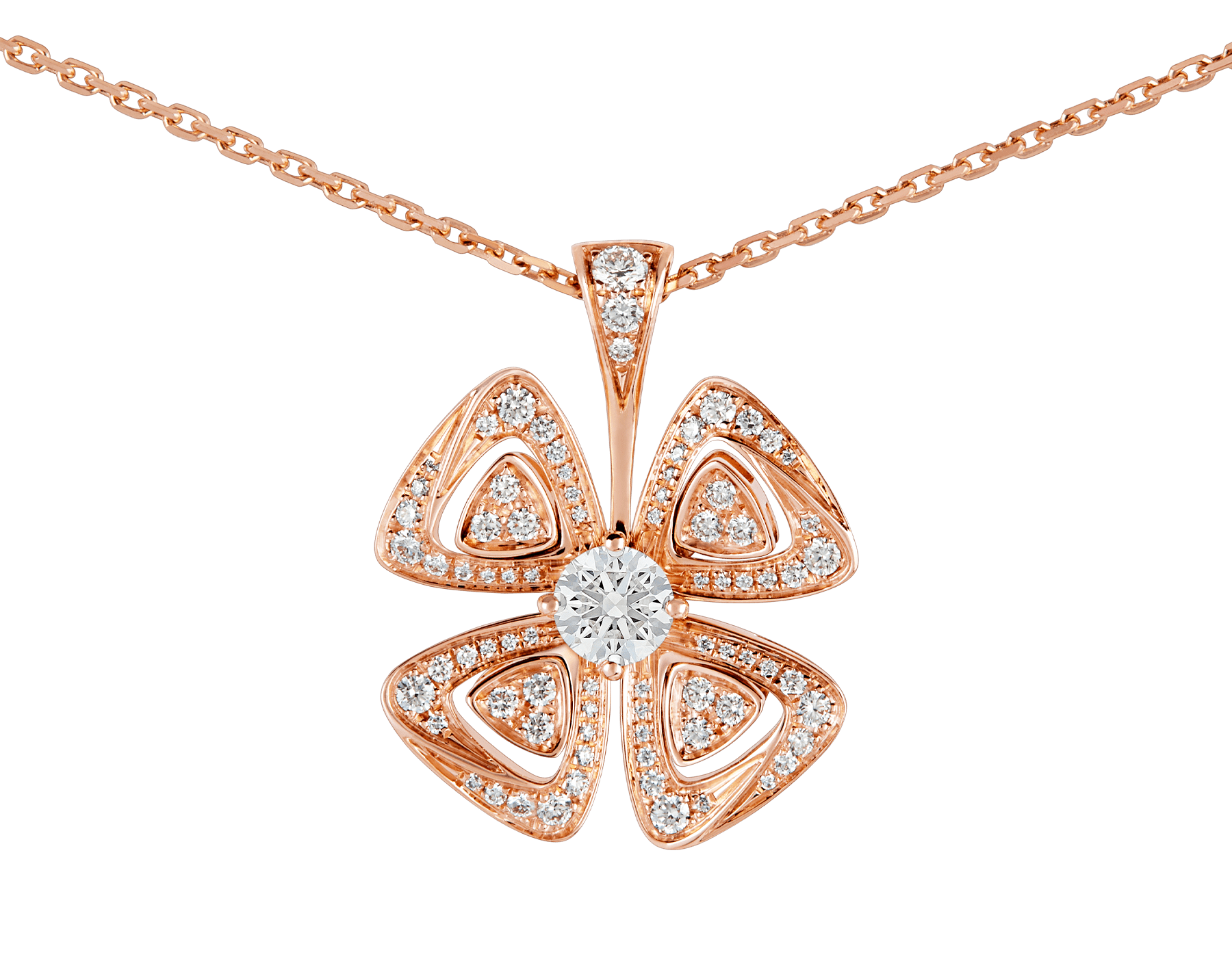 Fiorever 18 kt rose gold necklace set with a central diamond and pavé diamonds. 355885 image 3