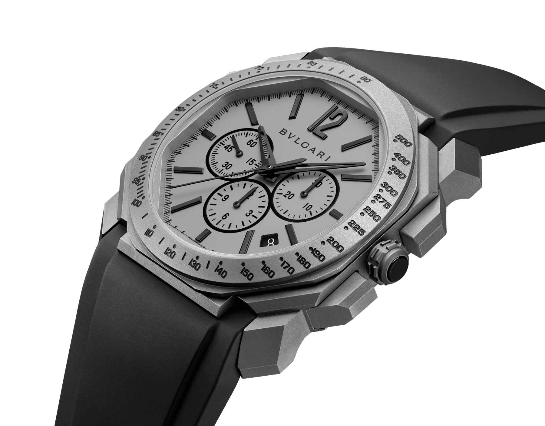 Octo L'Originale watch with mechanical manufacture movement, integrated high-frequency chronograph (5Hz), column wheel mechanism, silicon escapement, automatic winding and date, titanium case and dial, and black rubber bracelet 102859 image 2
