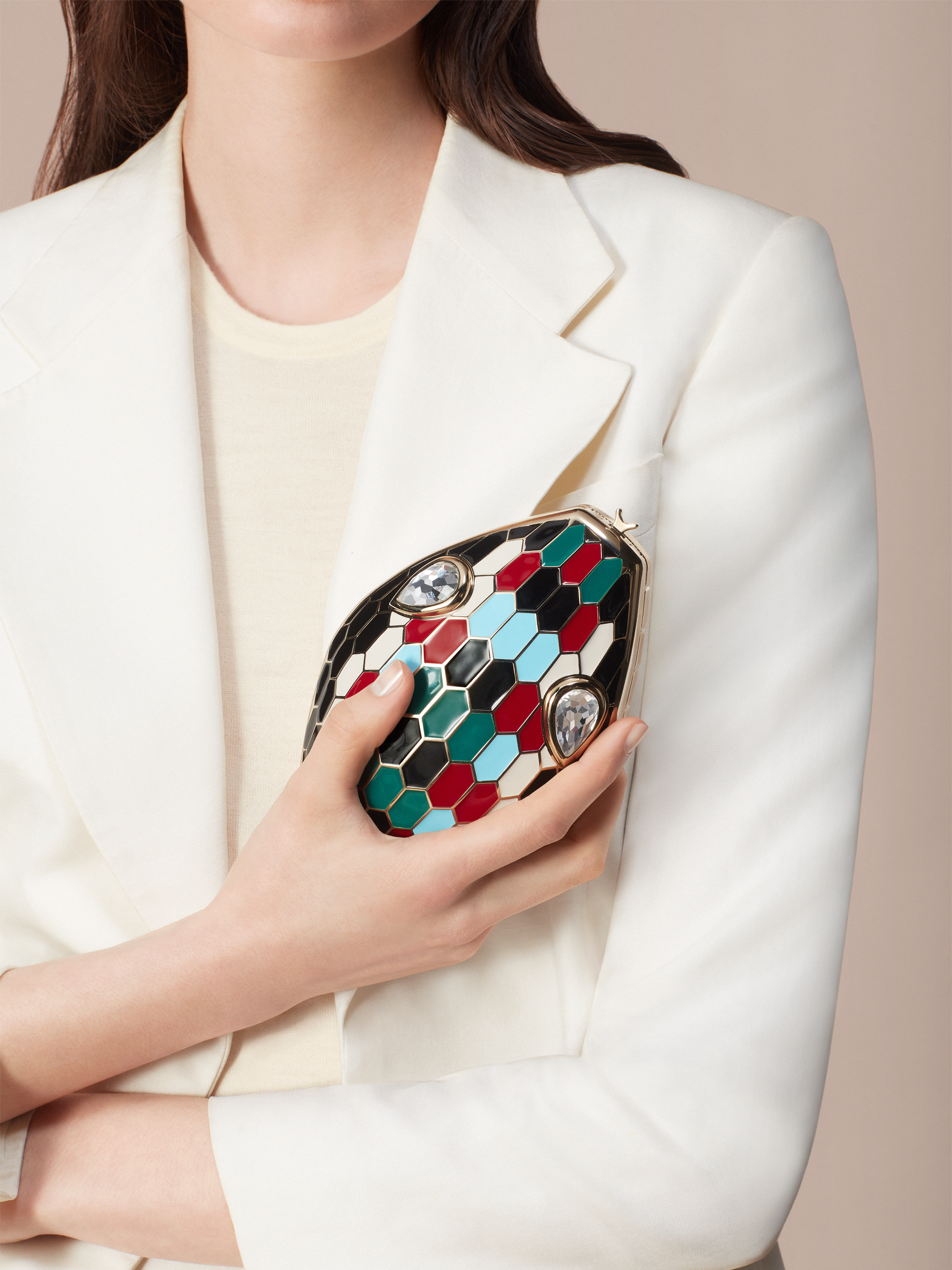 """""""Mary Katrantzou x Bvlgari"""" minaudière in light gold-plated brass with multicolor enamel scales, finished with seductive crystal eyes. Special Edition. MK-1153 image 4"""