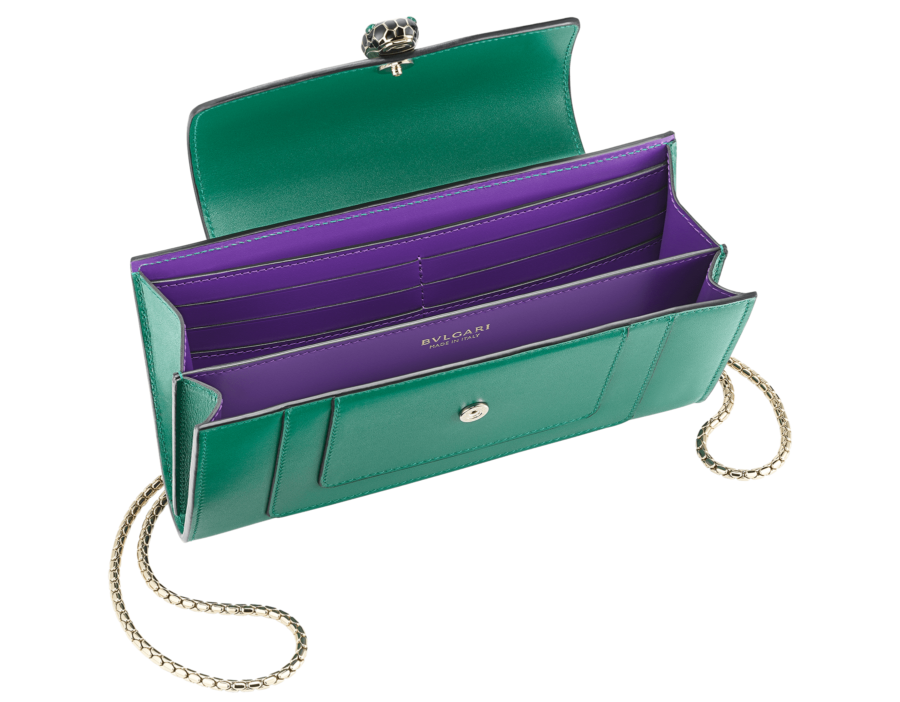 """Serpenti Forever"" device case in black and emerald green calf leather. Light gold-plated brass snakehead closure in black and white agate enamel with green malachite eyes. SEA-TECHNOHYBRIDL image 2"
