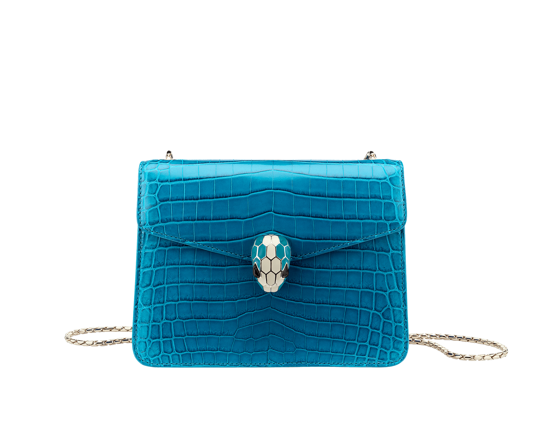Flap cover bag Serpenti Forever in ocean turquoise shiny crocodile skin with brass light gold plated Serpenti head closure in white and ocean turquoise enamel with eyes in black onyx. Internal metal tag featuring the Bulgari logo, and pocket mirror. Small size with one gusset and precious snake body-shaped chain. 20 x 15 x 3,5 cm - 7.9 x 5.1 x 1.4'' 39775 image 1