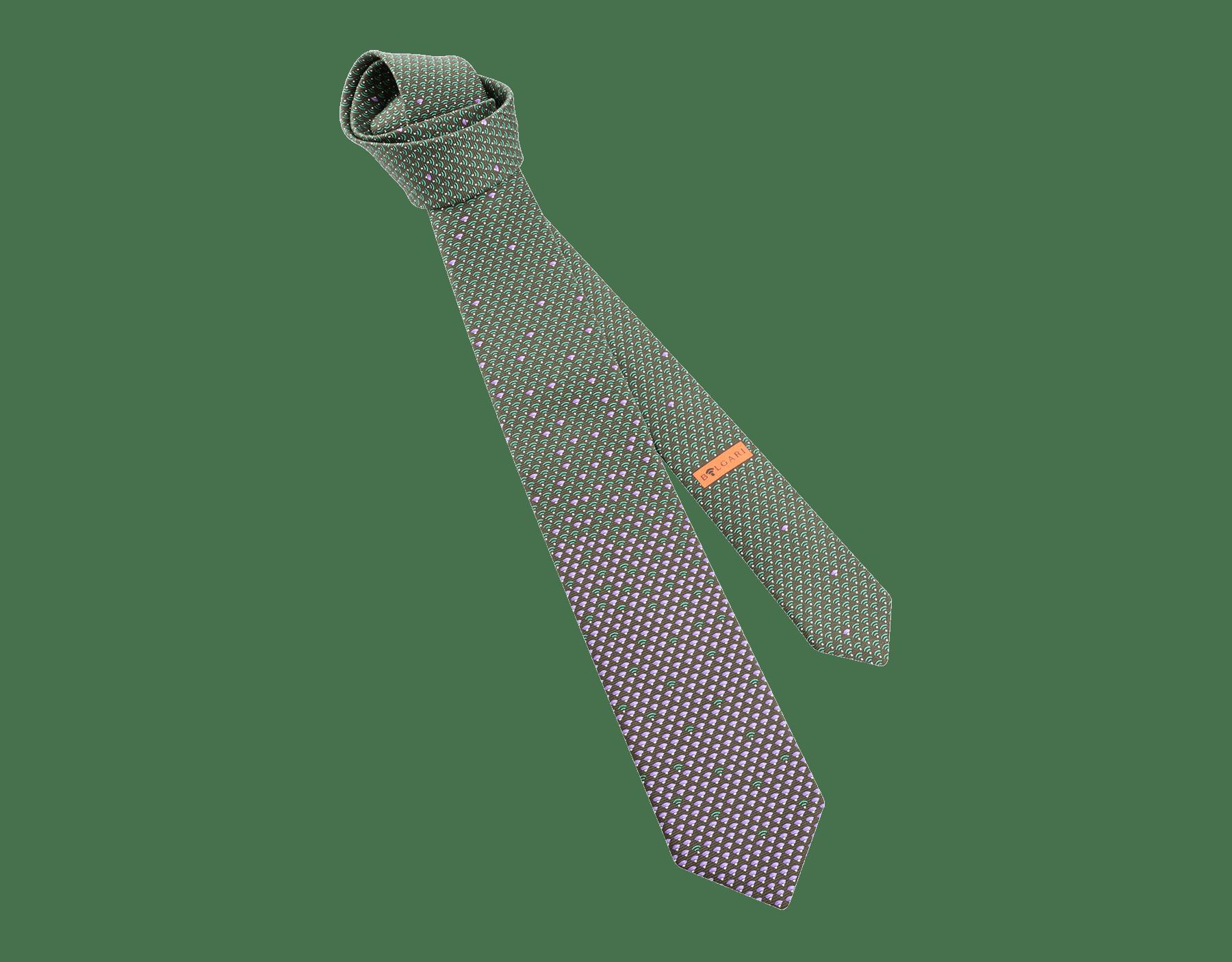Corbata de siete pliegues color jade en seda saglione fina estampada WI Diva. 244385 image 1