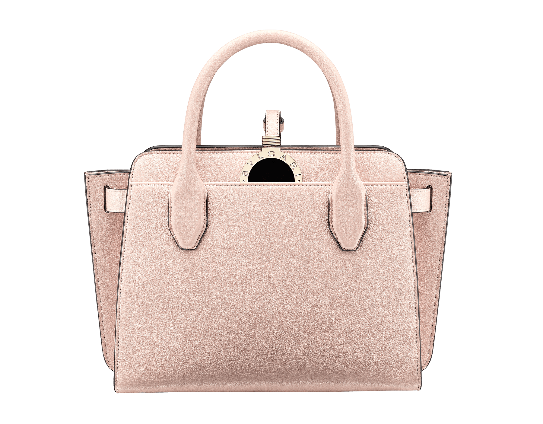 BVLGARI BVLGARI Alba tote bag in crystal rose grain calf leather, with zip closure. Iconic double logo pendant in brass light gold plated metal with black enamel on the front side, leather on the back side and Tubogas motif 833-CL image 1
