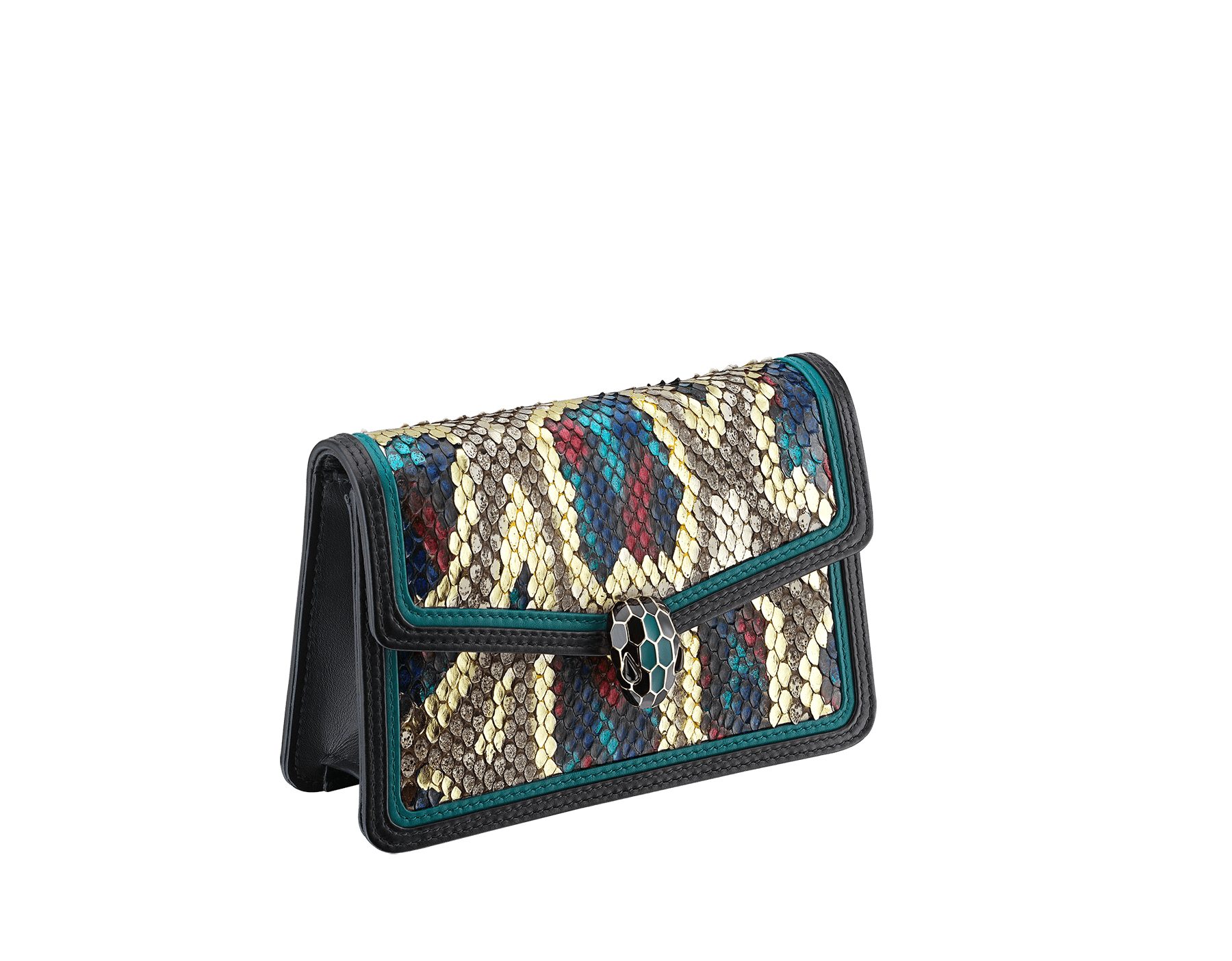 """Serpenti Diamond Blast"" crossbody micro bag in white agate Lunar python skin body and deep jade and black calf leather frames. Iconic snakehead closure in light gold plated brass enriched with deep jade and black enamel and black onyx eyes. 288266 image 2"