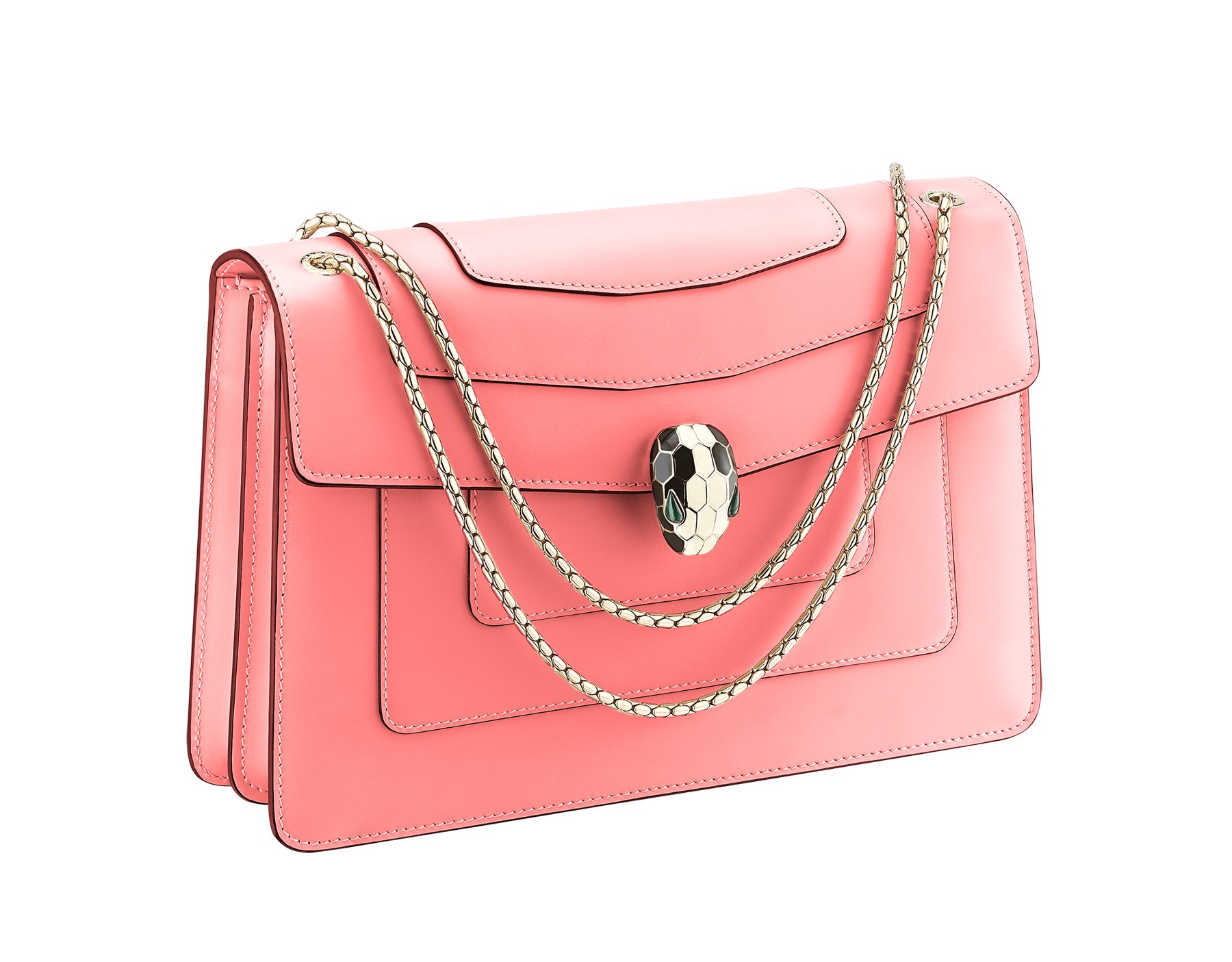 Serpenti Forever shoulder bag in silky coral calf leather. Iconic snakehead closure in light gold plated brass embellished with black and white enamel and green malachite eyes. 288704 image 2
