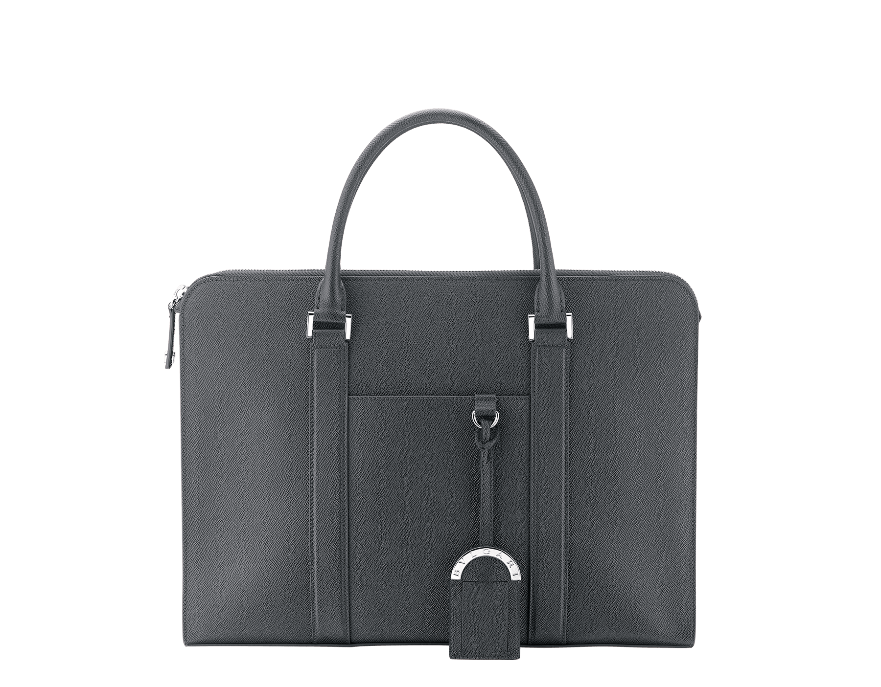 """BVLGARI BVLGARI"" zipped briefcase in mimetic jade grain calf leather and roman garnet nappa leather lining, with brass palladium plated hardware. BBM-001-0908S image 1"