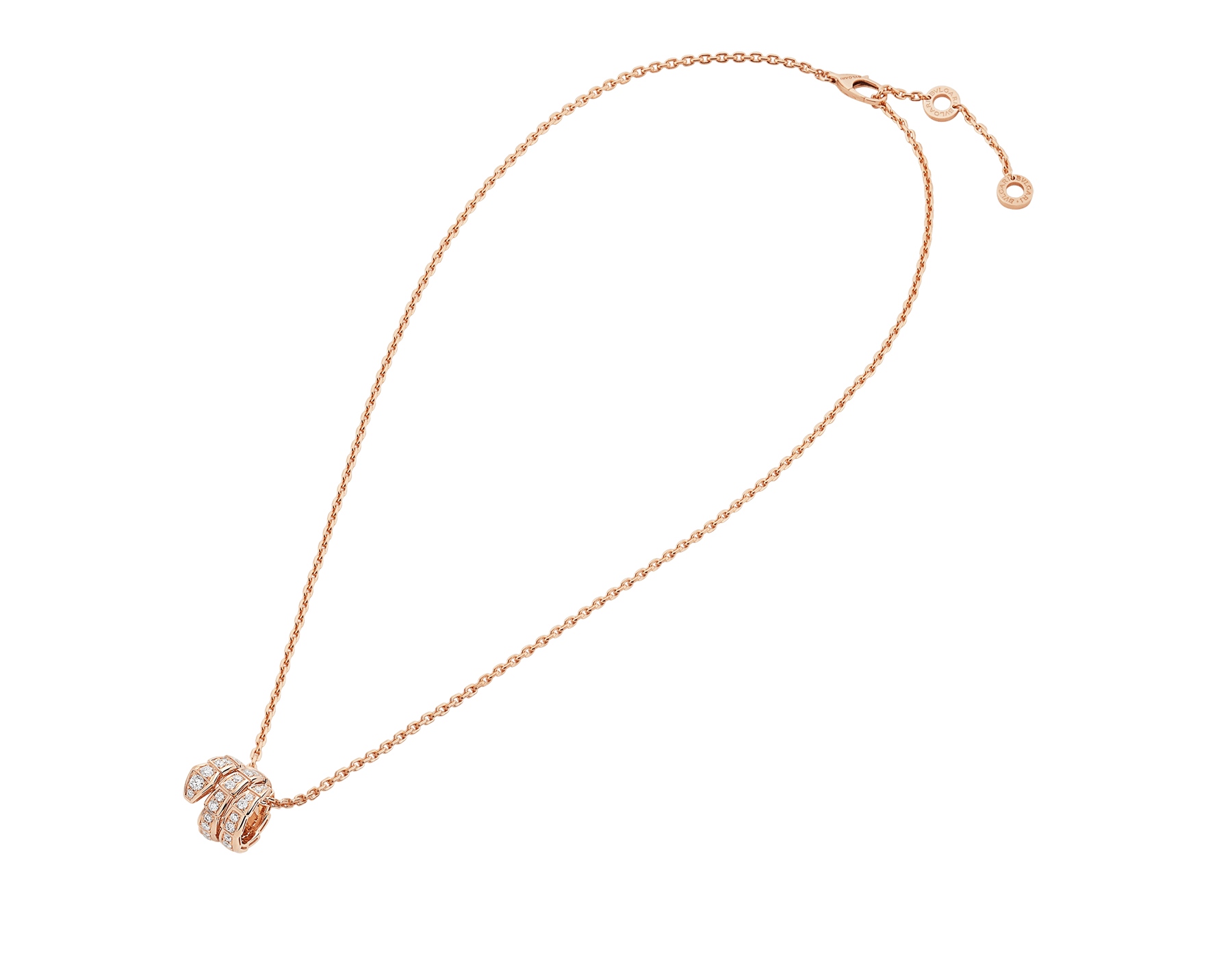 Serpenti Viper pendant necklace in 18 kt rose gold set with pavé diamonds 357795 image 2