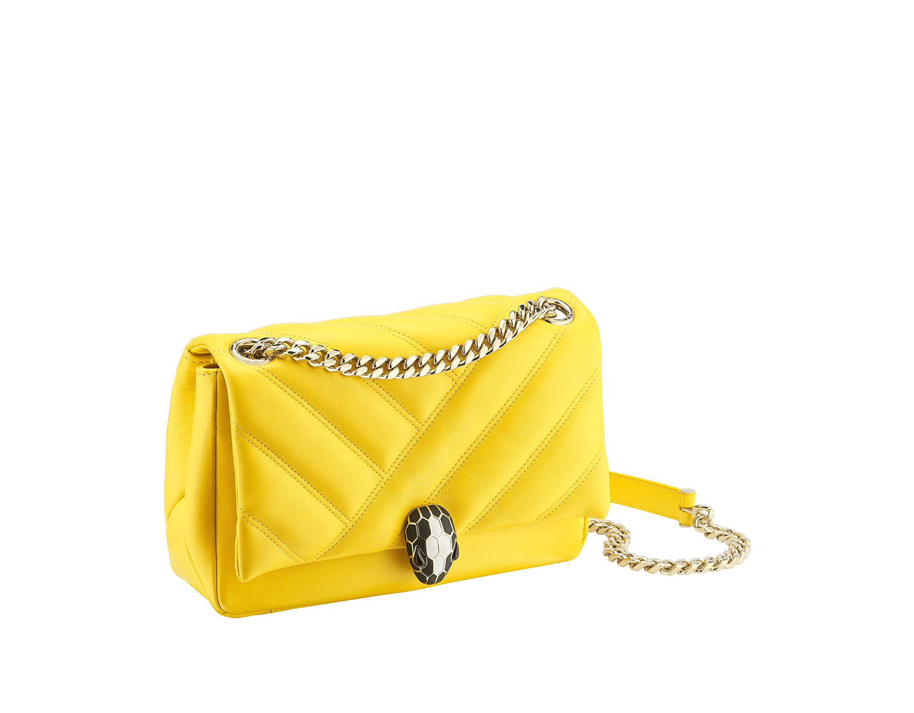 """Serpenti Cabochon"" shoulder bag in soft quilted daisy topaz calf leather, with a graphic motif. Brass light gold plated tempting snakehead closure in matte black and shiny white enamel and black onyx eyes. 290231 image 2"