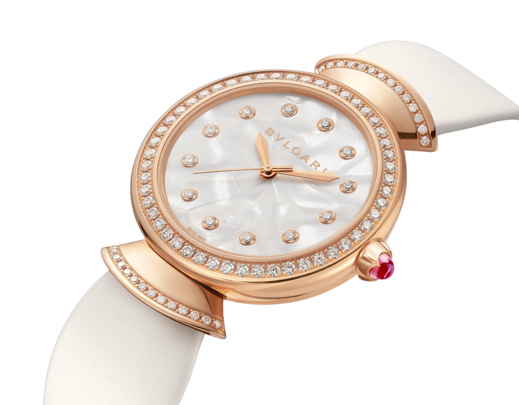DIVAS' DREAM watch with 18 kt rose gold case set with brilliant-cut diamonds, acetate dial, diamond indexes and white satin bracelet 102575 image 2