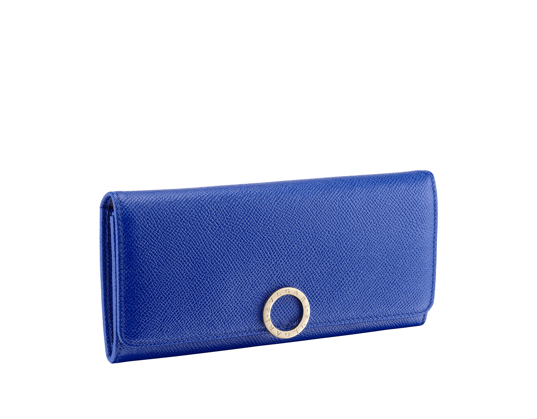 BVLGARI BVLGARI wallet pochette in cobalt tourmaline grain calf leather and aster amethyst nappa leather. Iconic logo closure clip in light gold plated brass 287299 image 1