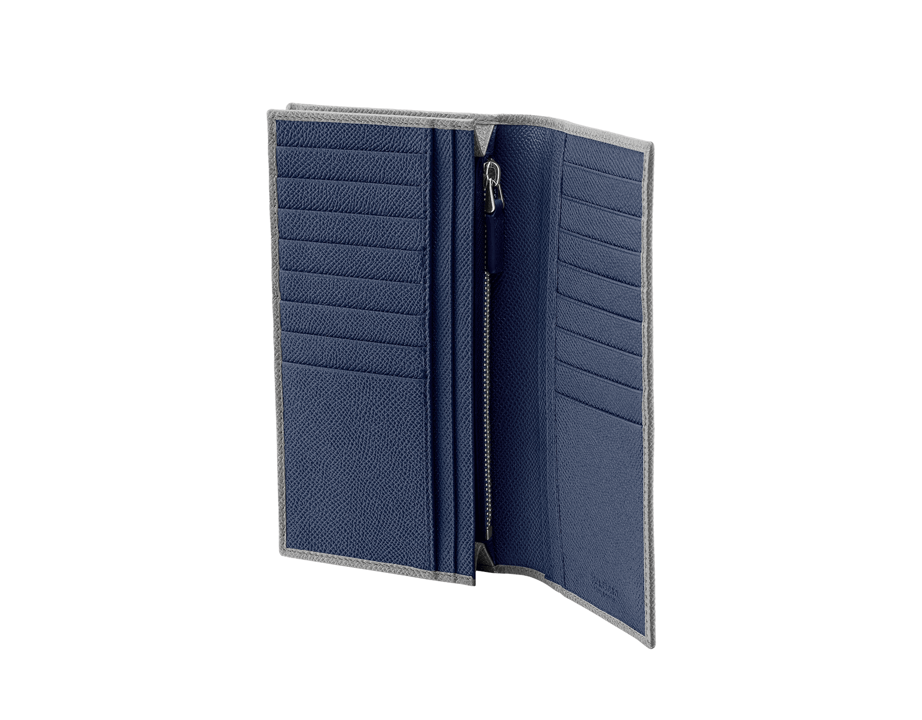 """""""BVLGARI BVLGARI"""" large wallet in Pluto Stone gray and Denim Sapphire blue grained calf leather. Iconic logo-bearing embellishment in palladium-plated brass. BBM-WLT-Y-ZP-16C-gcl image 2"""