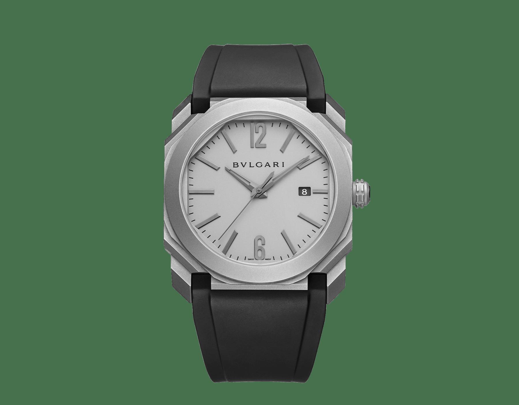 Octo L'Originale Uhr mit mechanischem Manufakturwerk, Automatikaufzug, Datumsanzeige mit augenblicklichem Datumswechsel, Gehäuse und Zifferblatt aus Titan und schwarzem Kautschukarmband 102858 image 1