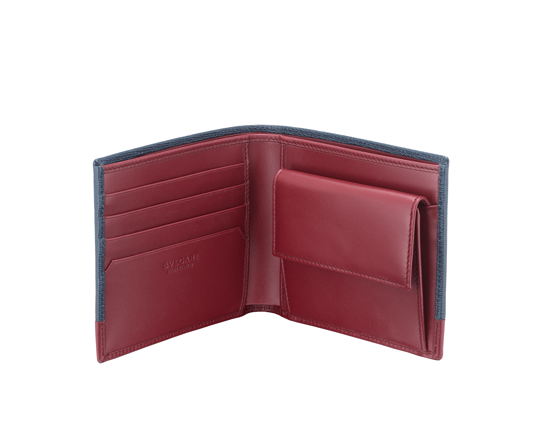 Serpenti Scaglie men's wallet in denim sapphire grazed calf leather and roman garnet calf leather. Bvlgari logo engraved on the hexagonal scaglie metal plate finished in dark ruthenium. 288457 image 2