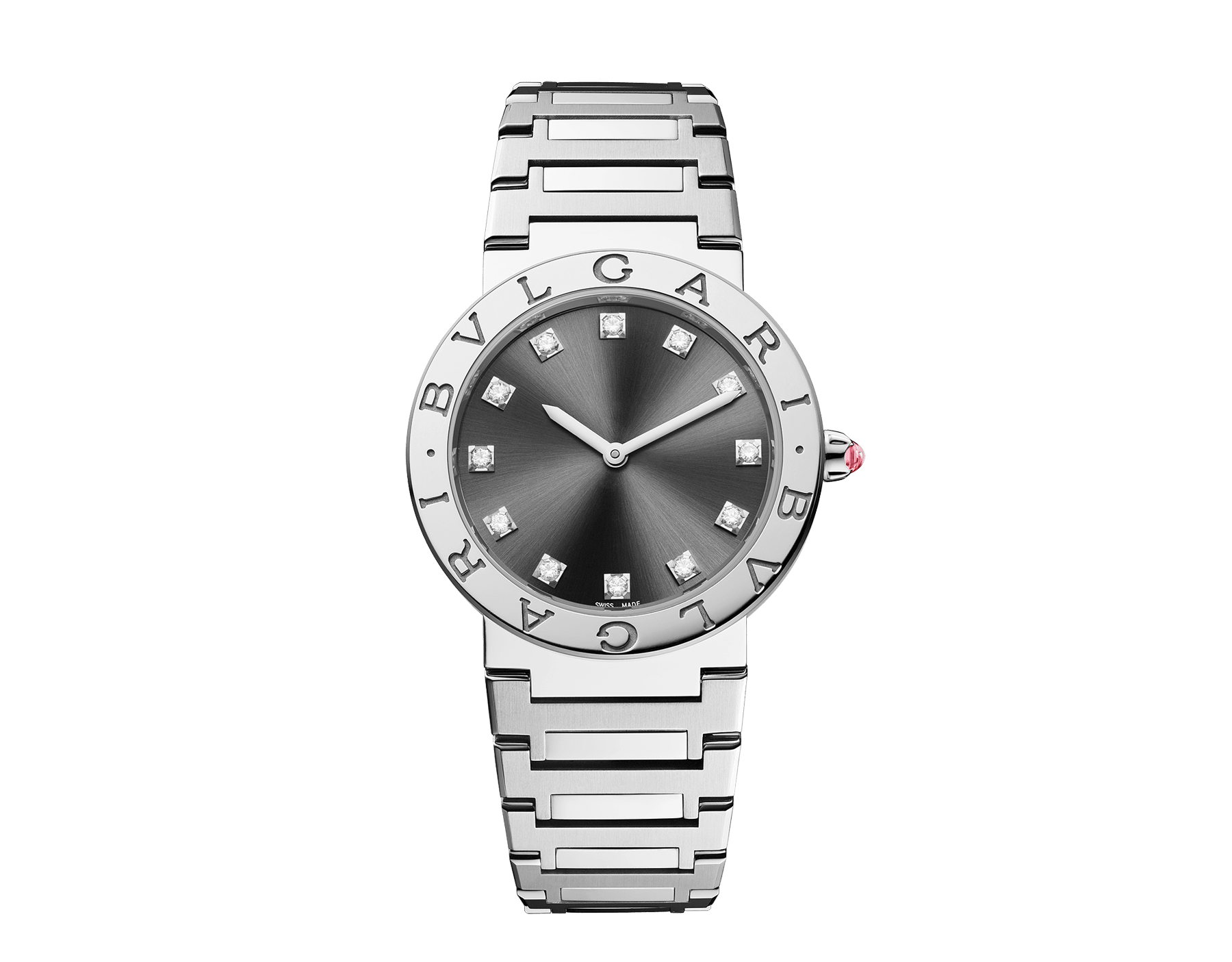 BVLGARI BVLGARI LADY watch in stainless steel case and bracelet, stainless steel bezel engraved with double logo, anthracite satiné soleil lacquered dial and diamond indexes 102923 image 1