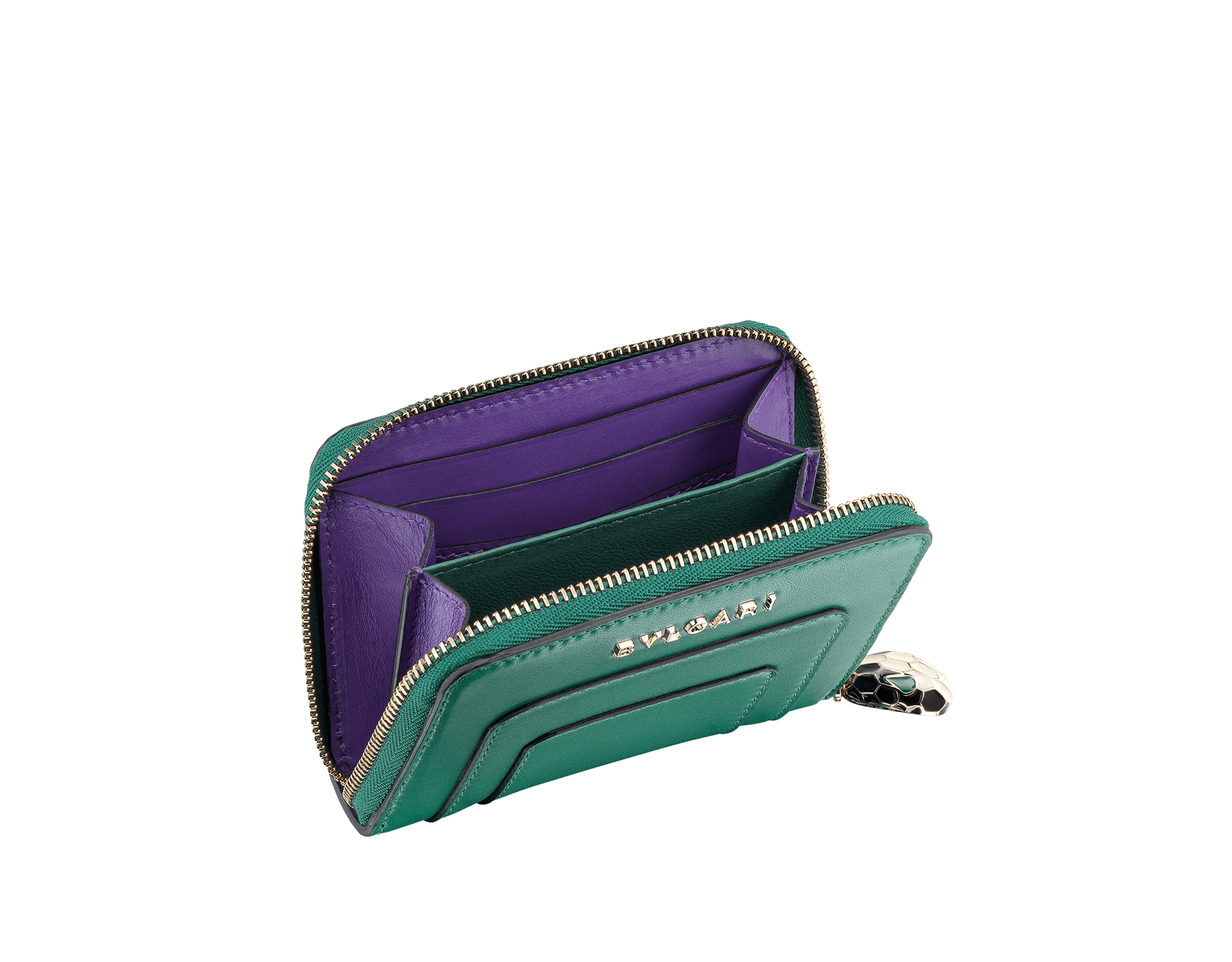 Serpenti Forever mini zipped wallet in cobalt tourmaline and aster amethyst calf leather. Iconic snakehead zip puller in black and white enamel, with green enamel eyes SEA-WLT-MINI-ZIP-CLc image 2