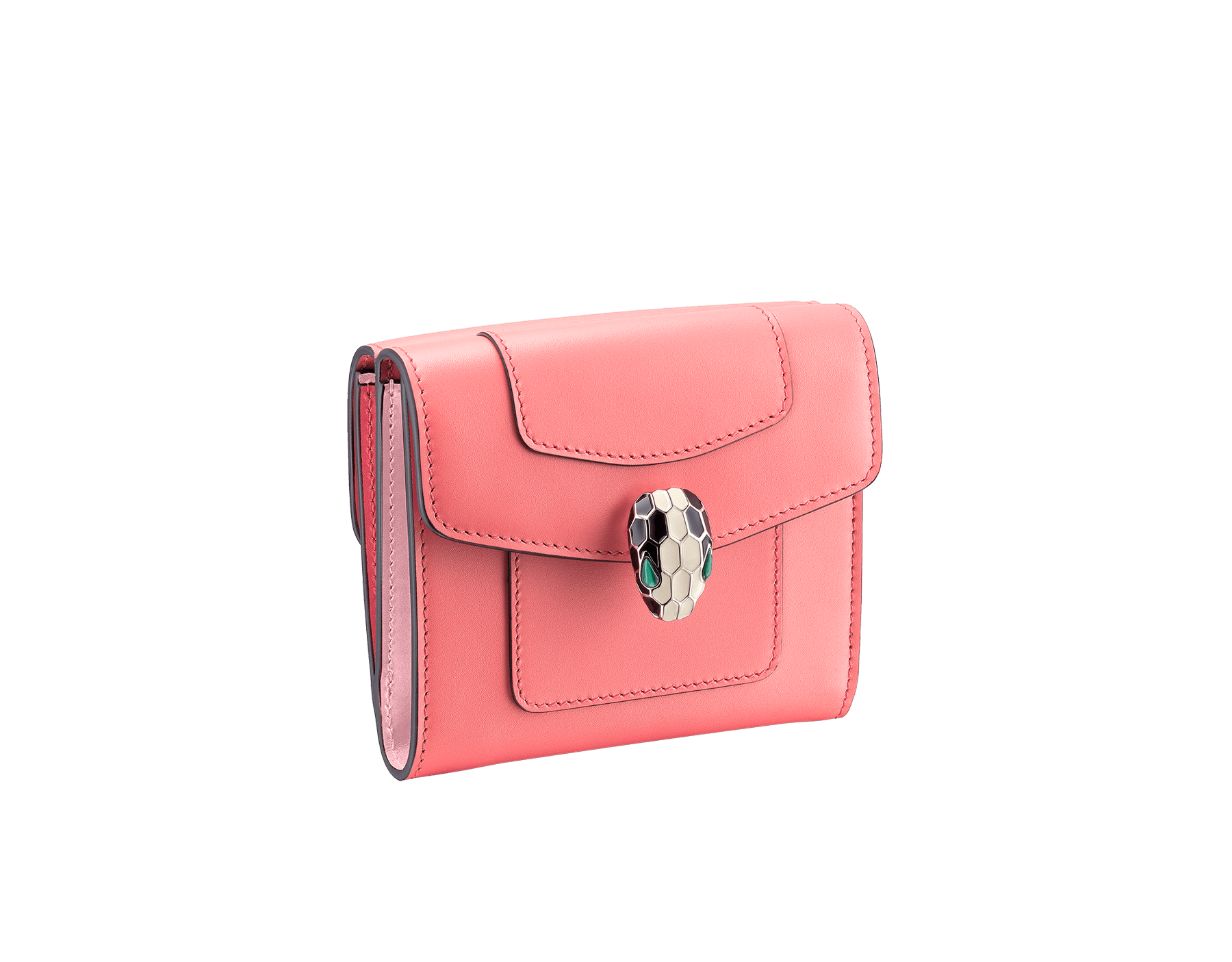 Serpenti Forever square compact wallet in silky coral and flamingo quartz calf leather. Iconic snake head stud closure in black and white enamel, with green malachite eyes. 288834 image 1