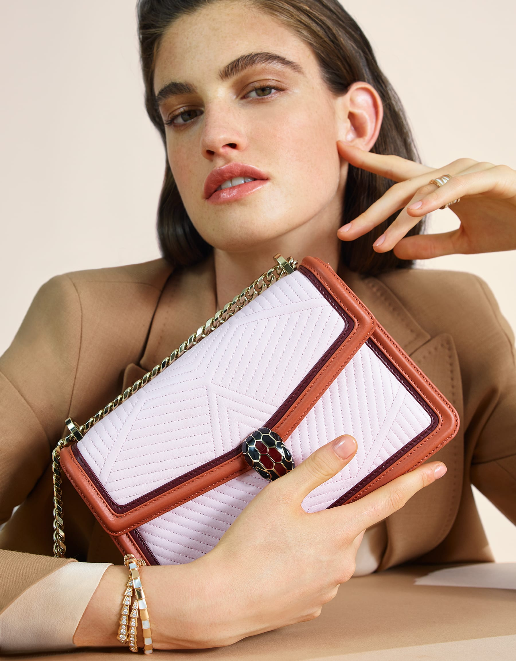 Serpenti Diamond Blast shoulder bag with rosa di francia quilted nappa leather body and imperial topaz and Roman garnet calf leather frames. Iconic snakehead closure in light gold plated brass embellished with Roman garnet and black enamel and black onyx eyes. 288829 image 5