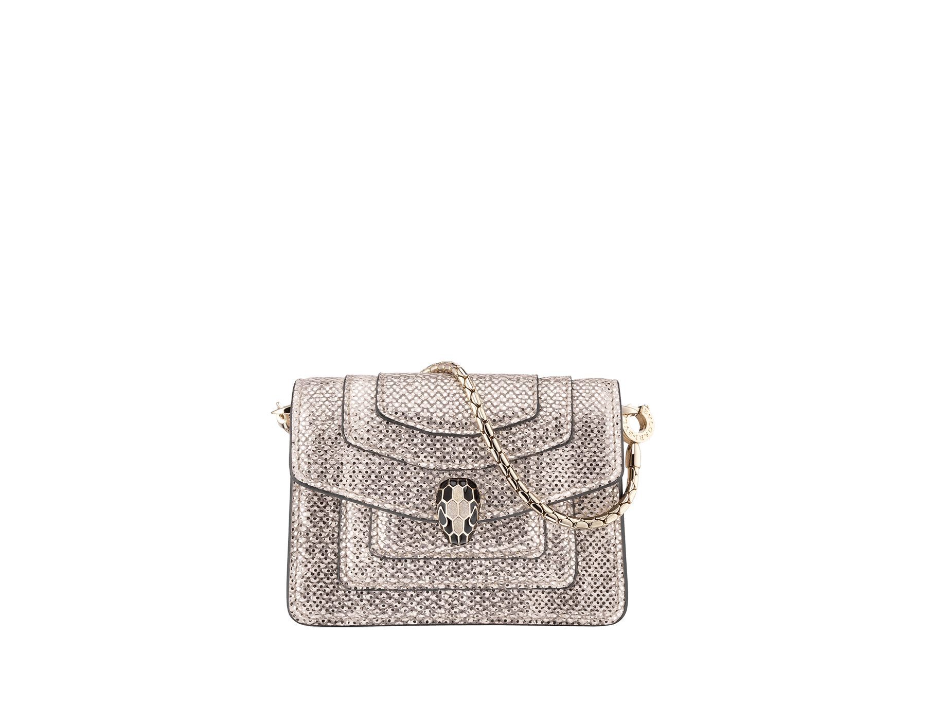 Ciondolo borsa con miniatura Serpenti Forever in karung metallizzato bianco opale con fodera in vitello color corallo. Iconica chiusura a pressione Serpenti in ottone placcato oro chiaro, smalto nero e glitter bianco opale con occhi in smalto nero. 288366 image 1