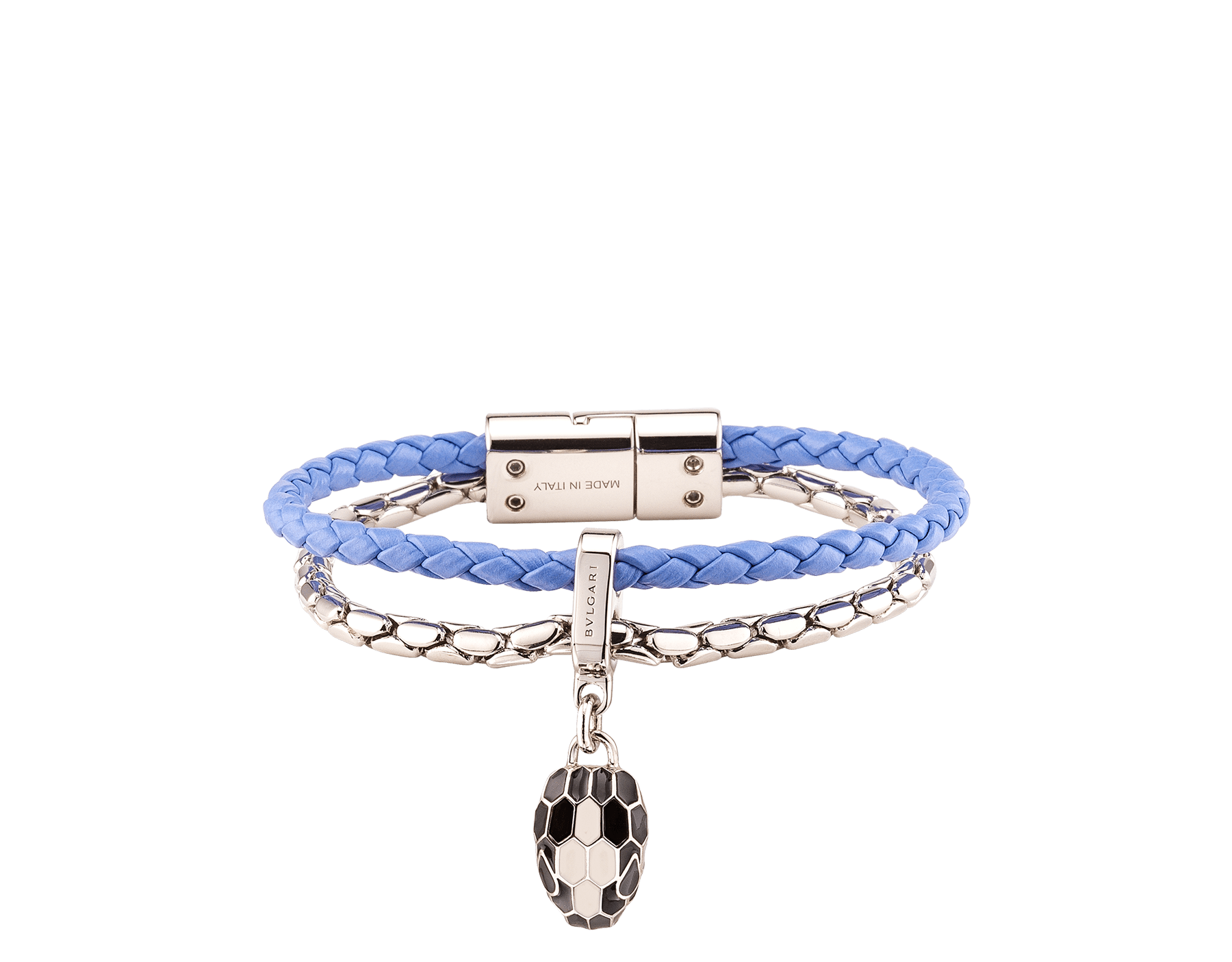 """Serpenti Forever"" bracelet in Lavander Amethyst lilac braided calf leather and palladum plated brass snake body-shaped chain with the iconic snakehead charm in black and white agate enamel, and black enamel eyes with a magnetic clasp closure. SerpBraidChain-WCL-LA image 1"