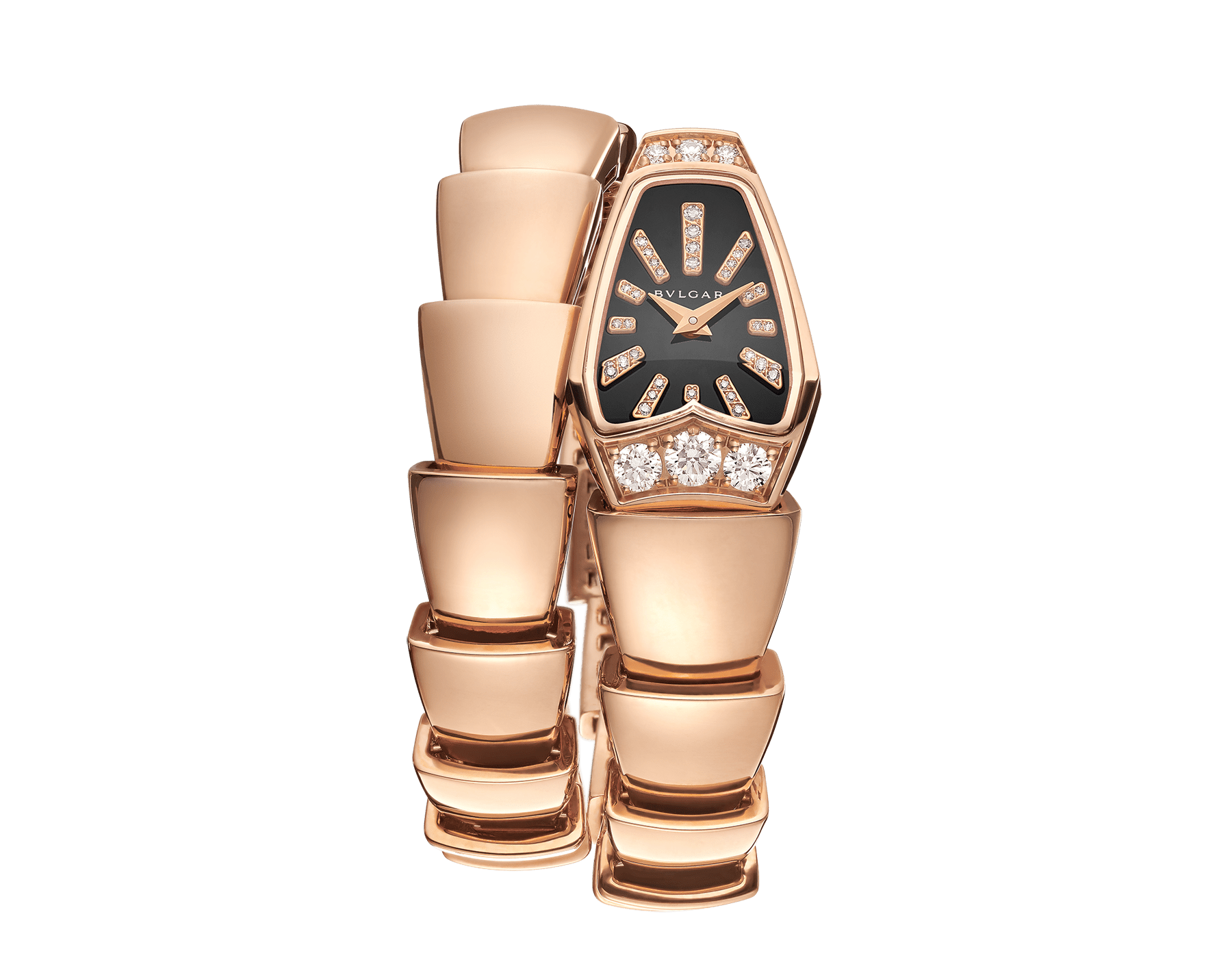 Serpenti Jewellery Watch with 18 kt rose gold case set with brilliant cut diamonds, black sapphire crystal dial, diamond indexes and 18 kt rose gold single spiral bracelet. 101788 image 1