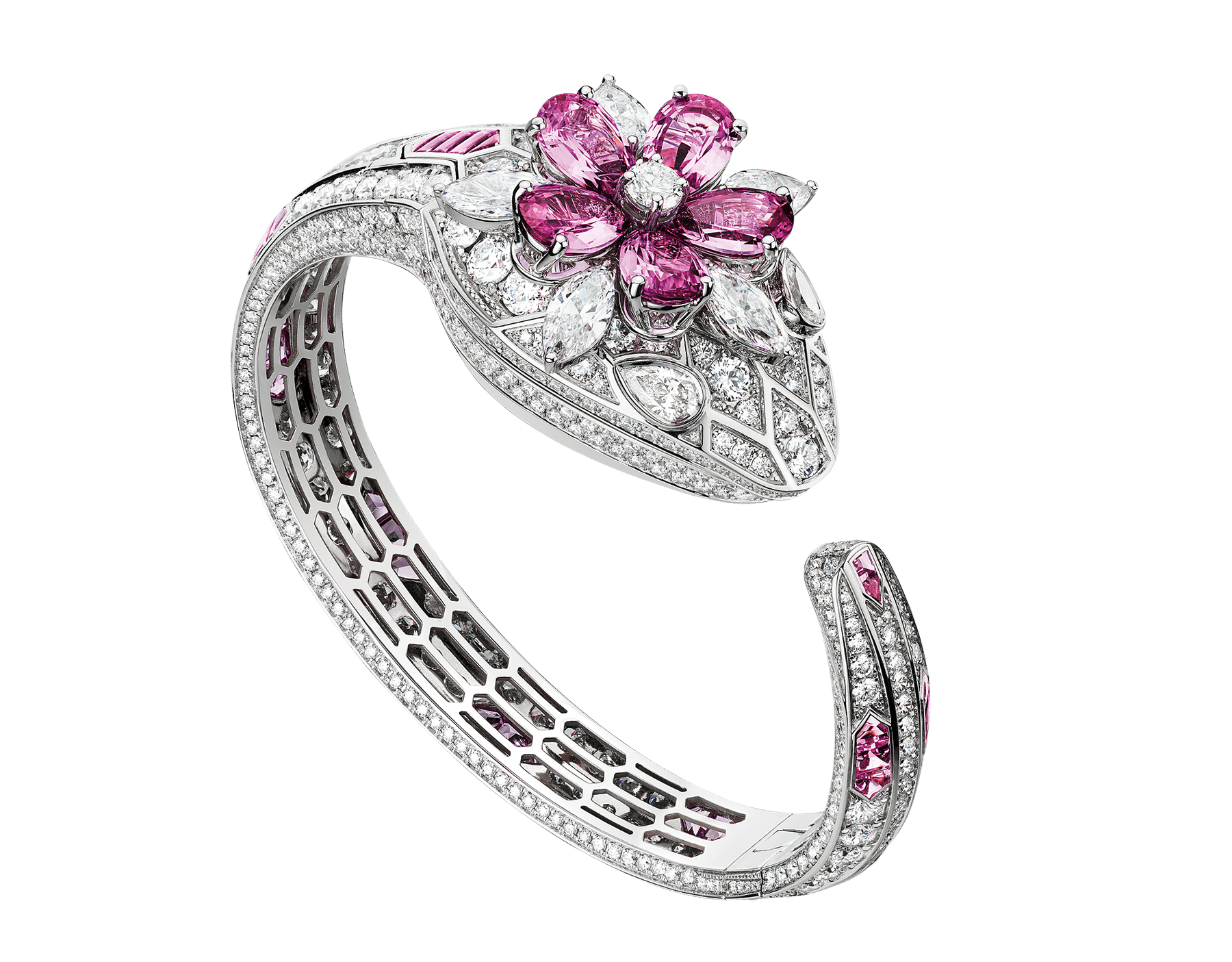 Serpenti Misteriosi watch with 18 kt white gold head set with round brilliant-cut diamonds and a flower in pear shaped pink sapphires and marquise shaped diamonds, 18 kt white gold case, dial fully set with round brilliant-cut diamonds, 18 kt white gold bracelet set with round brilliant-cut diamonds and buff-cut pink sapphires, and pear-shaped diamond eyes. Medium size 103178 image 1