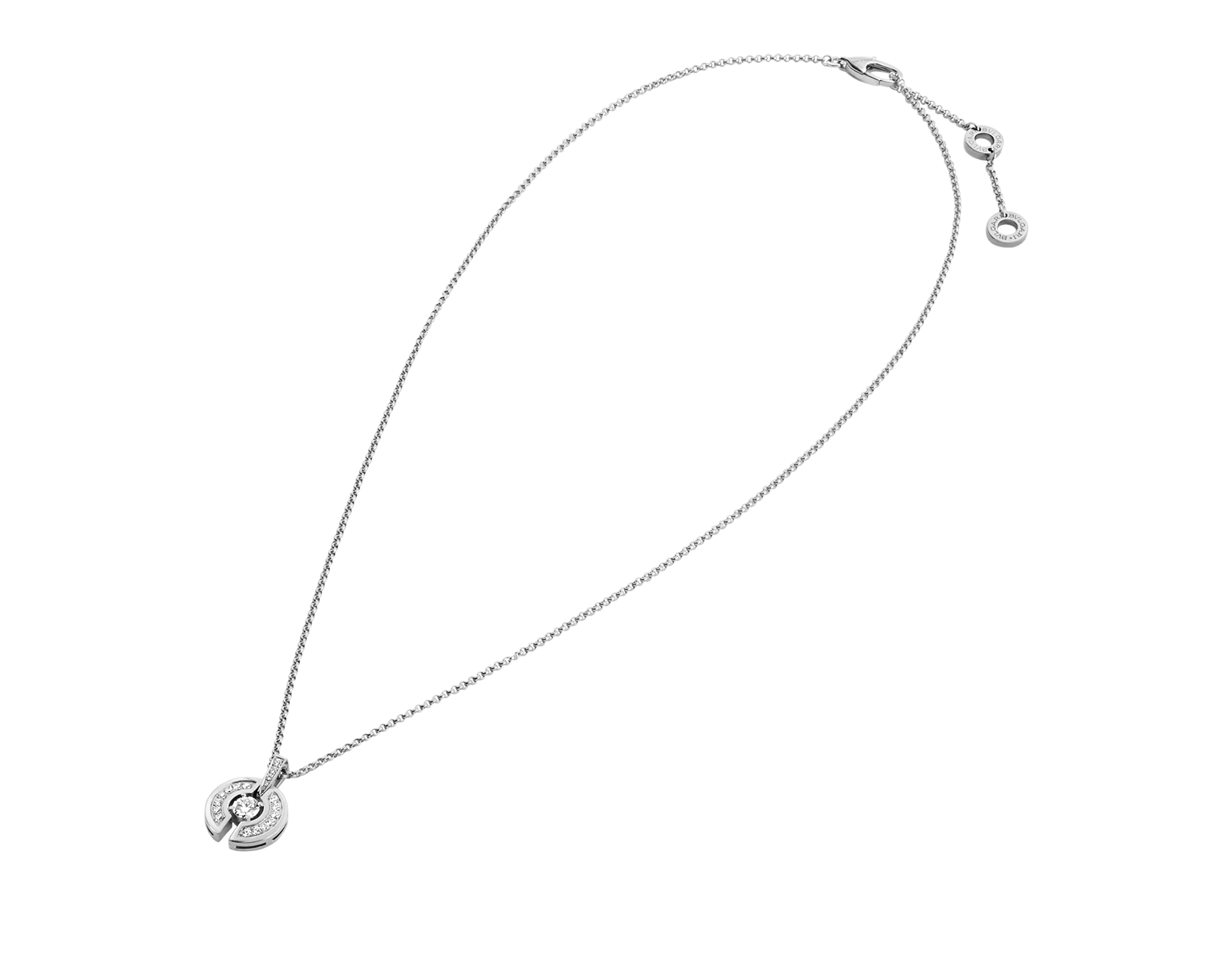 Parentesi necklace with 18 kt white gold chain and pendant, set with a central diamond and pavé diamonds. 354312 image 2