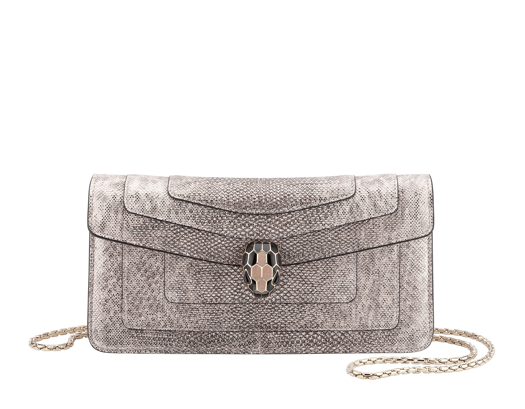 """Serpenti Forever"" shoulder bag in crystal rose metallic karung skin. Iconic snakehead closure in light gold plated brass enriched with black and glitter bronze enamel and black onyx eyes 287089 image 1"