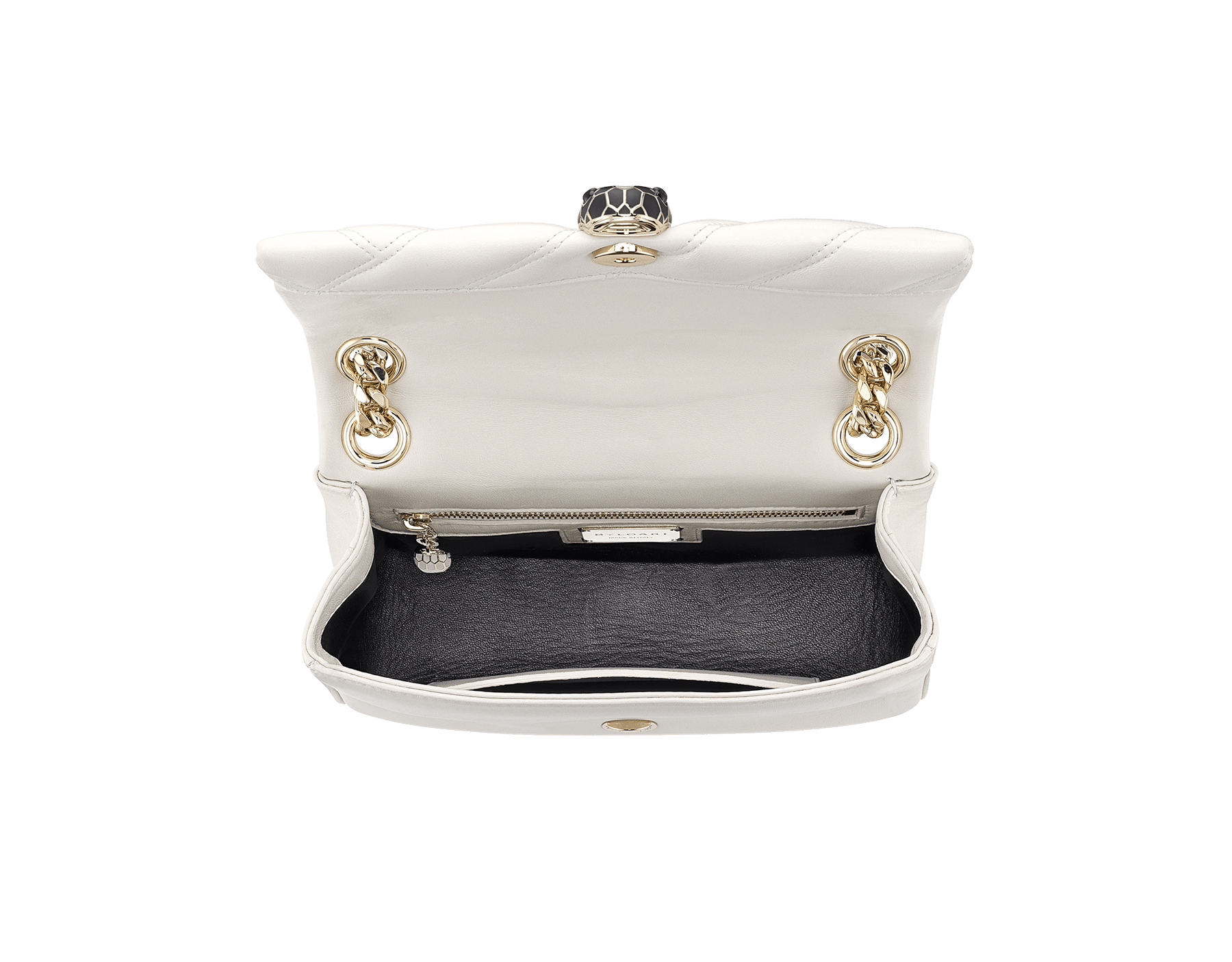 Serpenti Cabochon shoulder bag in soft matelassé white agate nappa leather with graphic motif and white agate calf leather. Snakehead closure in rose gold plated brass decorated with matte black and white enamel, and black onyx eyes. 287993 image 4
