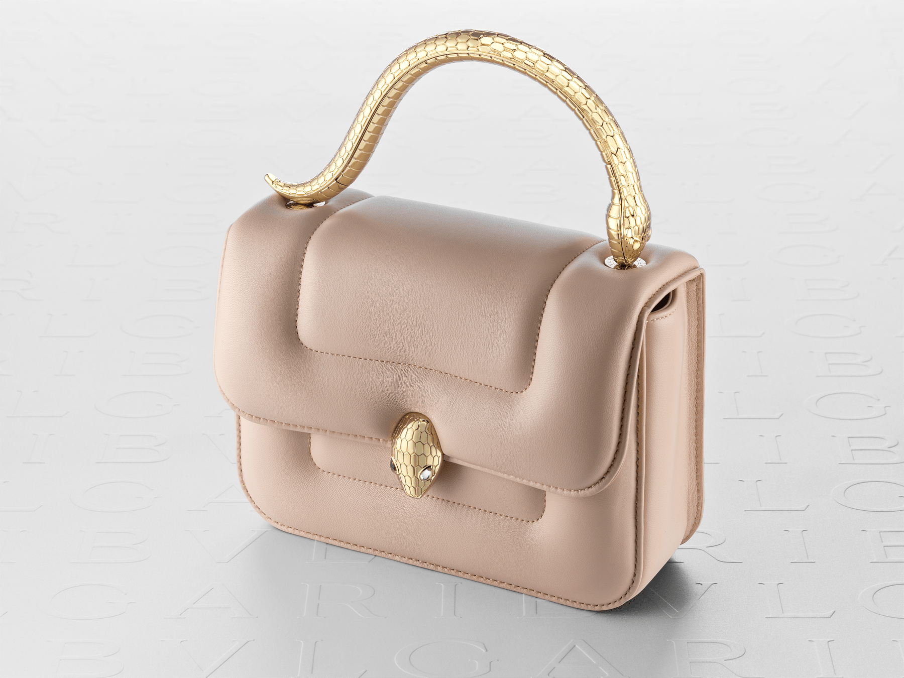 """""""Mary Katrantzou x Bvlgari"""" top handle bag in soft matelassé Aegean Topaz blue nappa leather, with Aegean Topaz blue nappa leather inner lining. New Serpenti head closure in gold-plated brass, finished with seductive crystal eyes. Special Edition. MK-1142 image 9"""