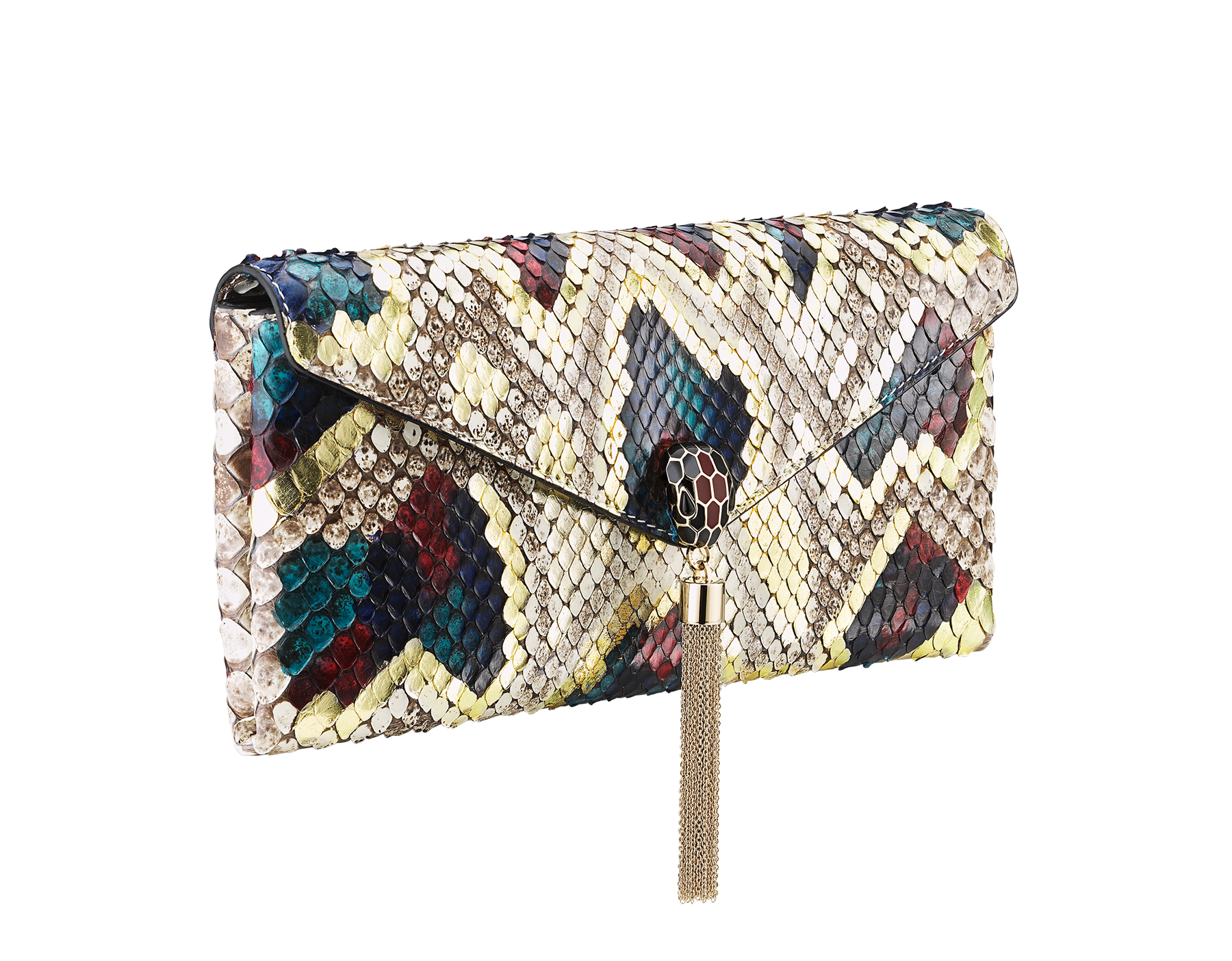 """""""Serpenti"""" evening clutch bag in white agate Lunar python skin. Iconic snakehead stud closure with tassel in light gold plated brass enriched with black and roman garnet enamel and black onyx eyes. 288485 image 2"""
