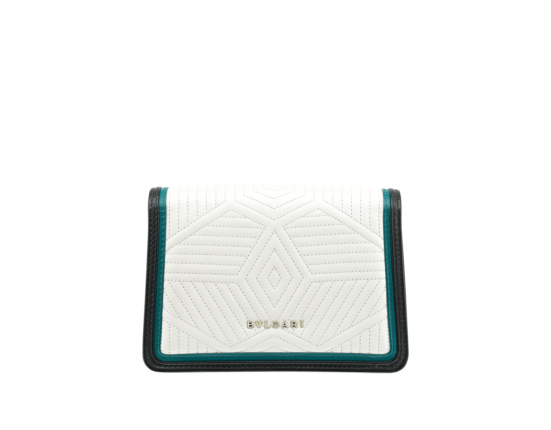 """Serpenti Diamond Blast"" crossbody micro bag with white agate quilted nappa leather body and deep jade and black calf leather frames. Iconic snakehead closure in light gold-plated brass enriched with deep jade and black enamel and black onyx eyes. 288106 image 3"