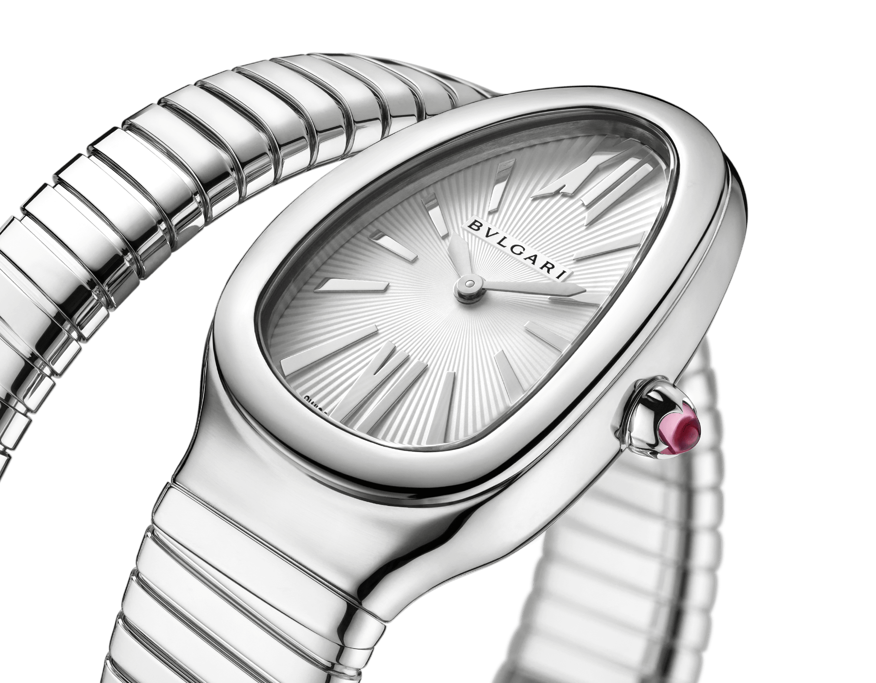 Serpenti Tubogas single spiral watch in stainless steel case and bracelet, with silver opaline dial. Large size. SrpntTubogas-white-dial1 image 3