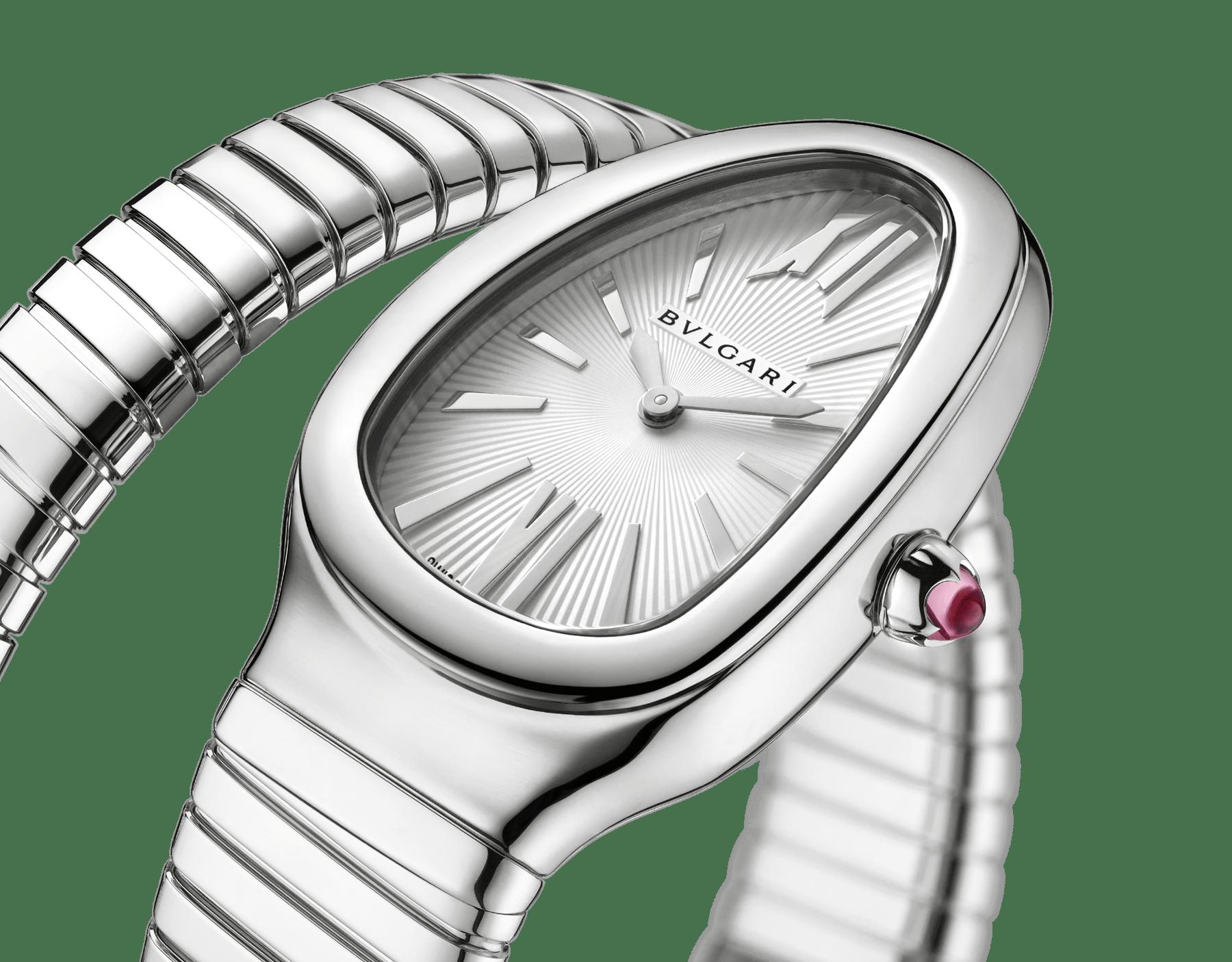 Relógio Serpenti Tubogas de uma volta com caixa e pulseira em aço inoxidável e mostrador de opalina prateada. Tamanho grande. SrpntTubogas-white-dial1 image 3
