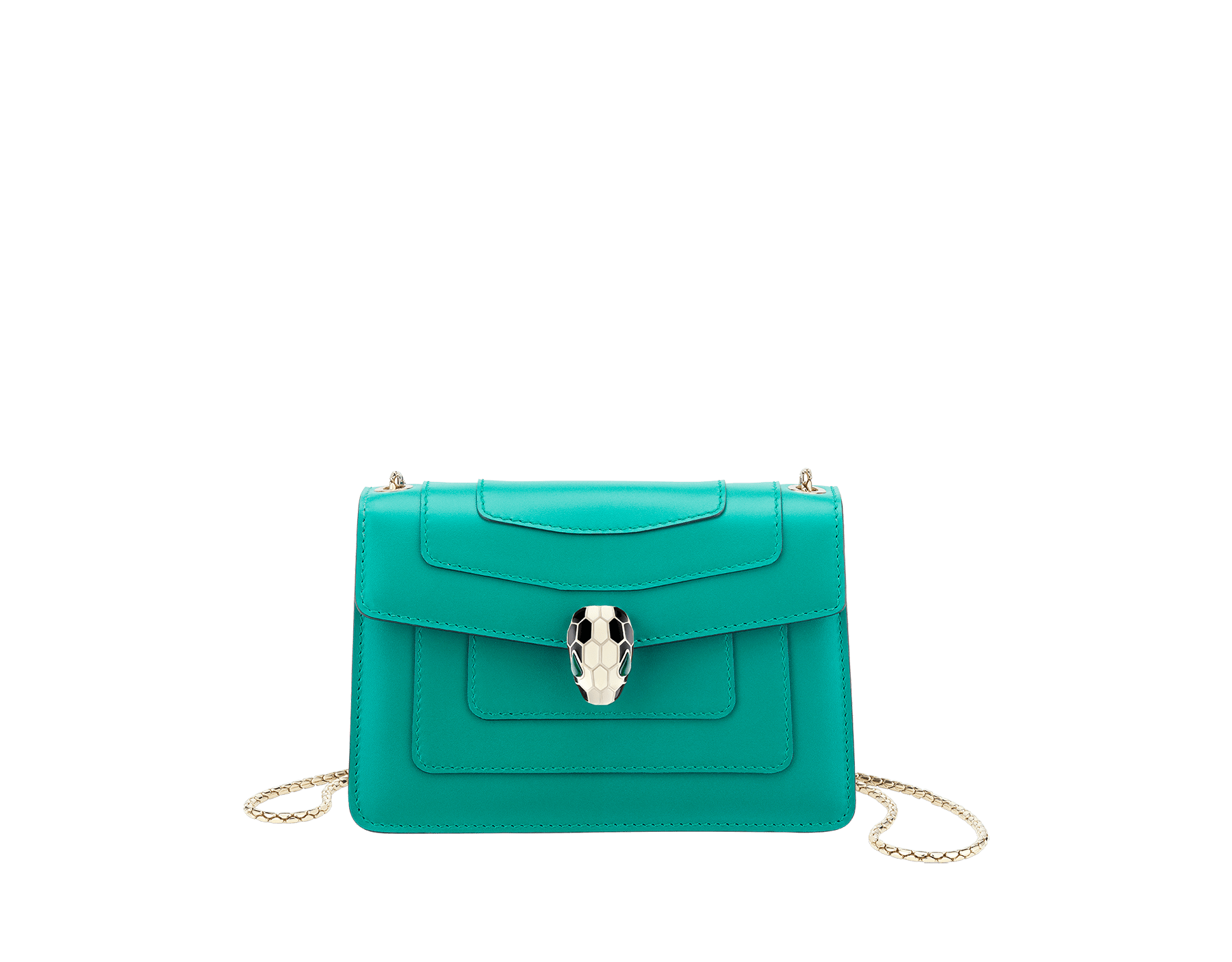 Serpenti Forever mini crossbody bag in tropical tourquoise calf leather. Brass light gold plated snake head closure in black and white enamel, with green malachite eyes. 288043 image 1