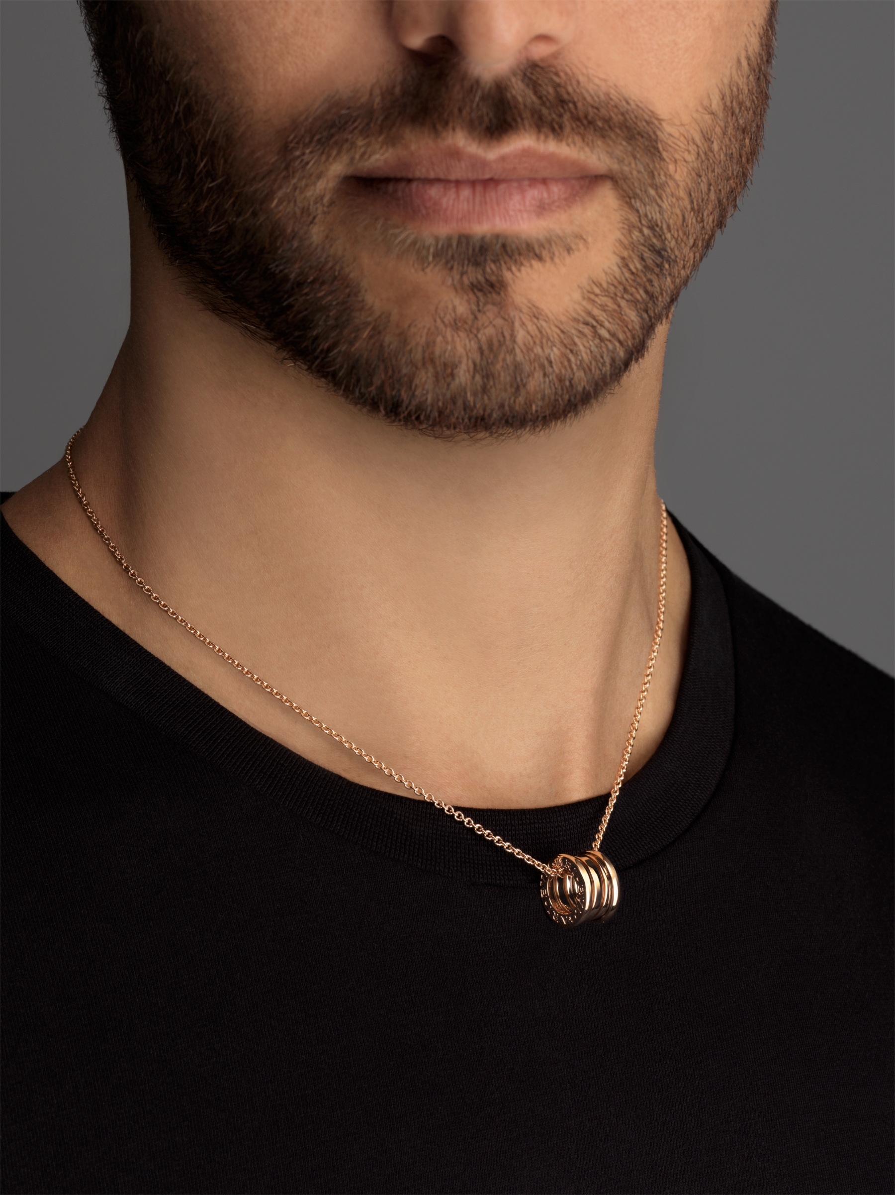 B.zero1 necklace with chain and small round pendant in 18kt rose gold. 335924 image 5