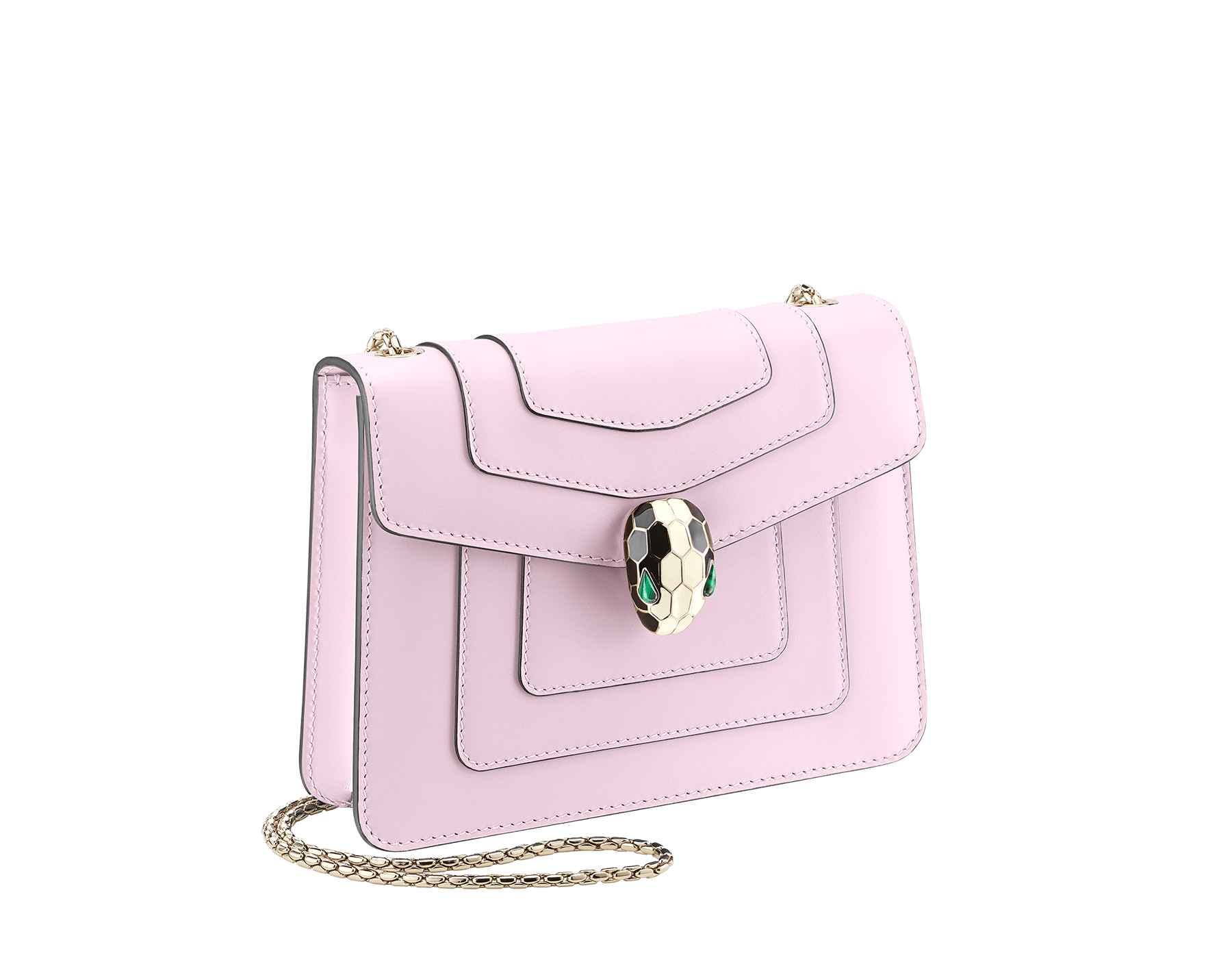 """Serpenti Forever "" crossbody bag in carmine jasper calf leather. Iconic snakehead closure in light gold plated brass enriched with black and white enamel and green malachite eyes 422-CLc image 2"