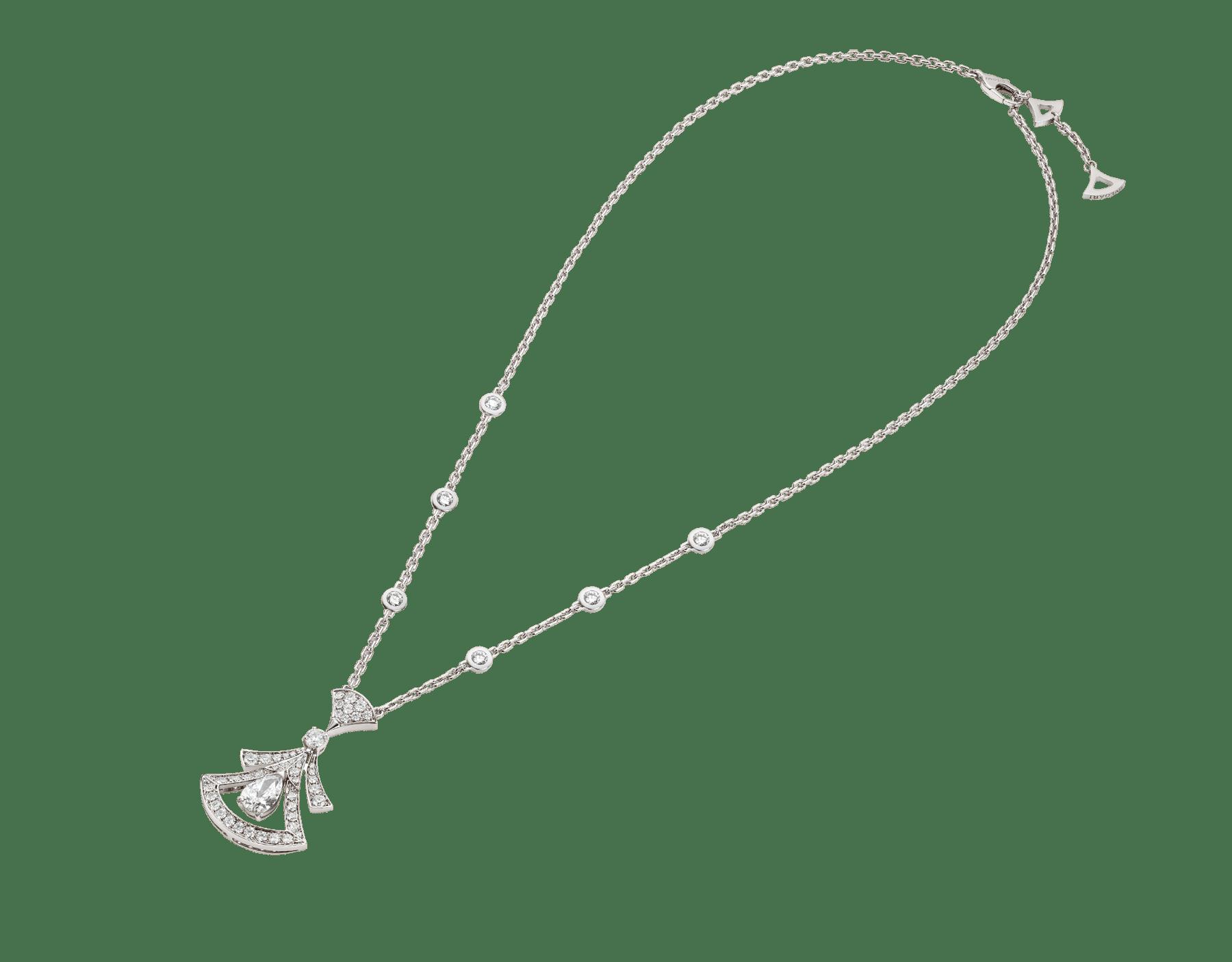 Divas' Dream 18K 白金項鍊,鑲飾 1 顆梨形鑽石(0.80 克拉)、圓形明亮型切割鑽石(0.77 克拉)和密鑲鑽石(0.71 克拉)。 358220 image 2