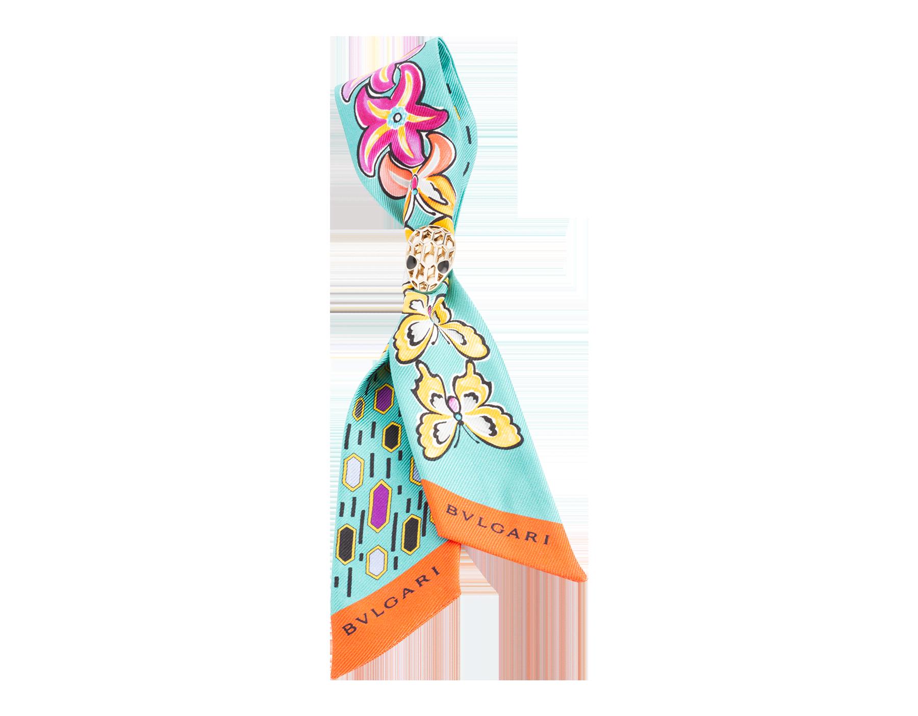 極地翡翠色「B Fly」領巾式上等薩里昂絲巾。 244025 image 1