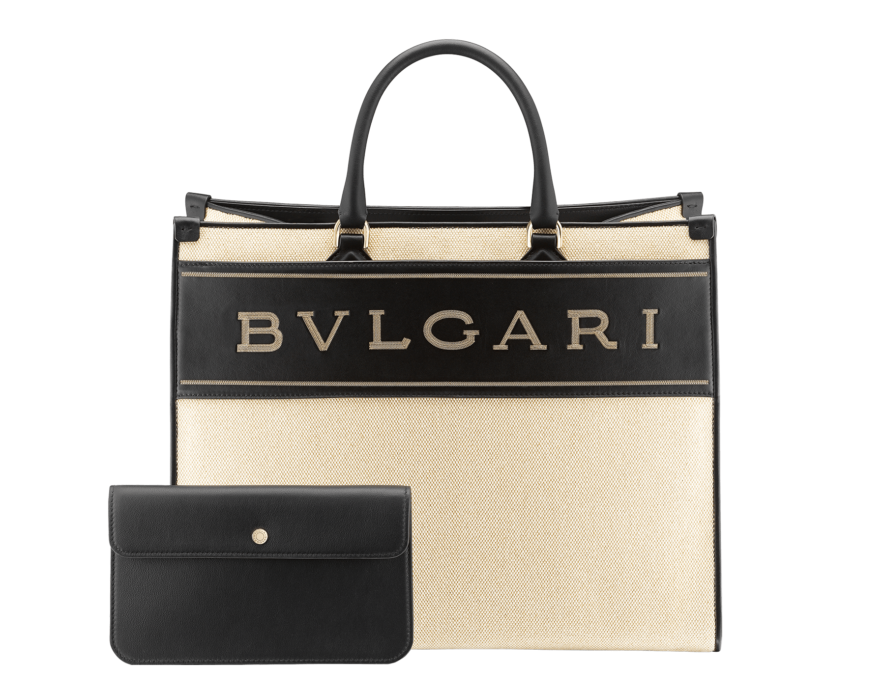 """""""Bvlgari Logo"""" large tote bag in black calf leather, with black grosgrain inner lining. Bvlgari logo featured with dark ruthenium-plated brass chain inserts on the black calf leather. BVL-1160 image 4"""
