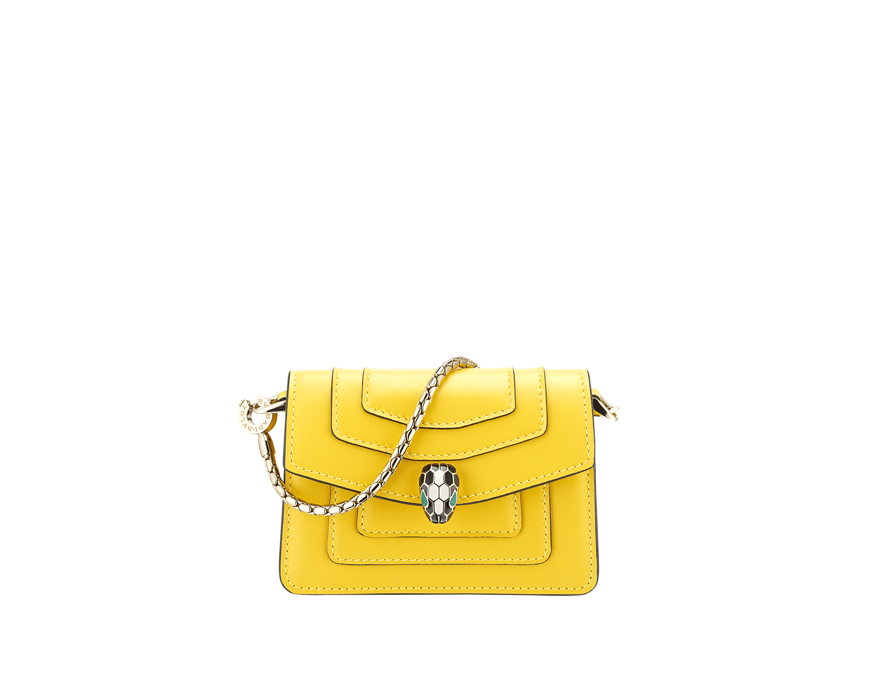"""Serpenti Forever"" miniature bag charm in daisy topaz calf leather and crystal rose calf leather lining. Iconic brass light gold plated snake head stud closure enamelled in black and white and finished with green enamel eyes. 289875 image 1"