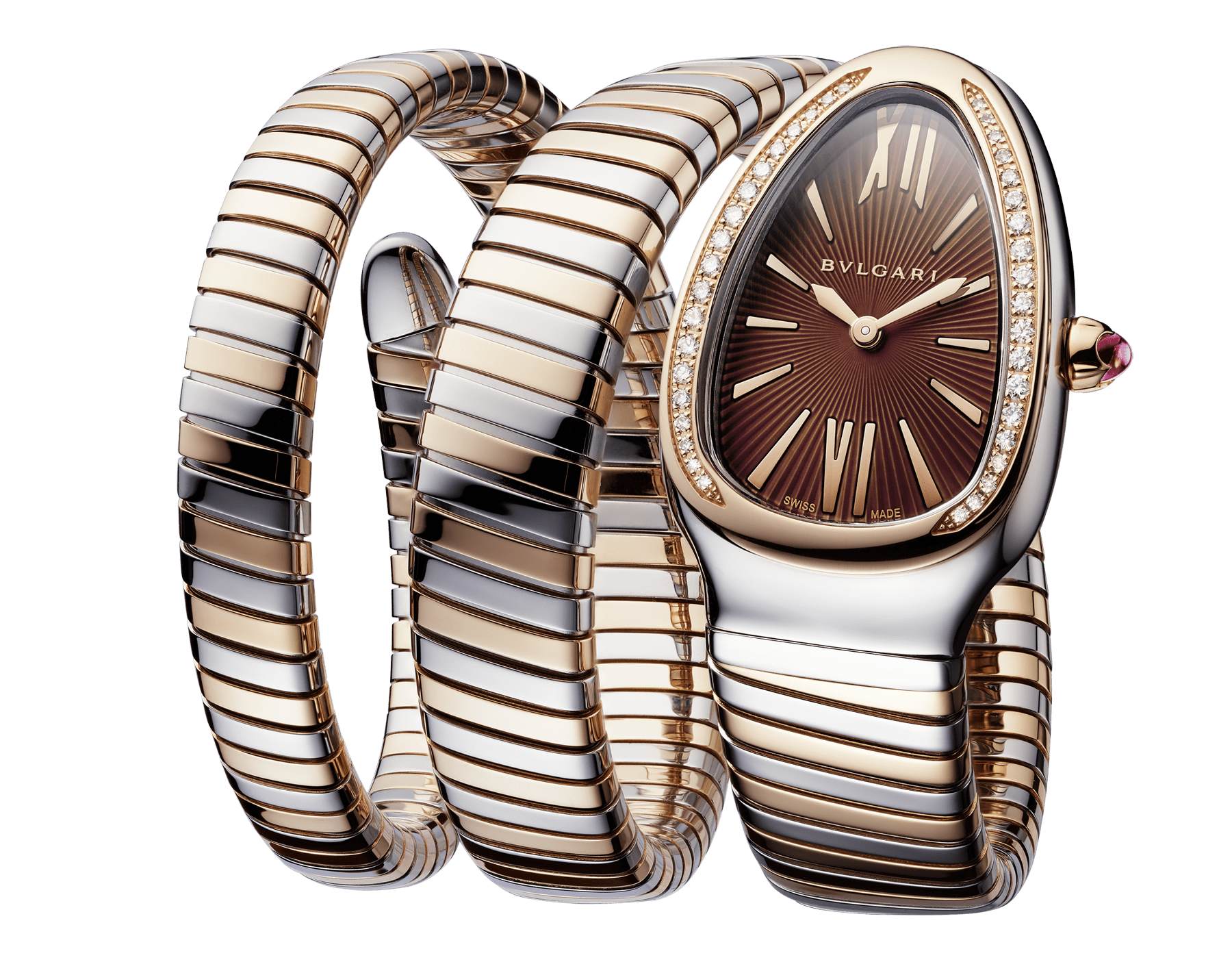 Serpenti Tubogas double spiral watch with stainless steel case, 18 kt rose gold bezel set with brilliant-cut diamonds, brown dial with guilloché soleil treatment, stainless steel and 18 kt rose gold bracelet 103070 image 2