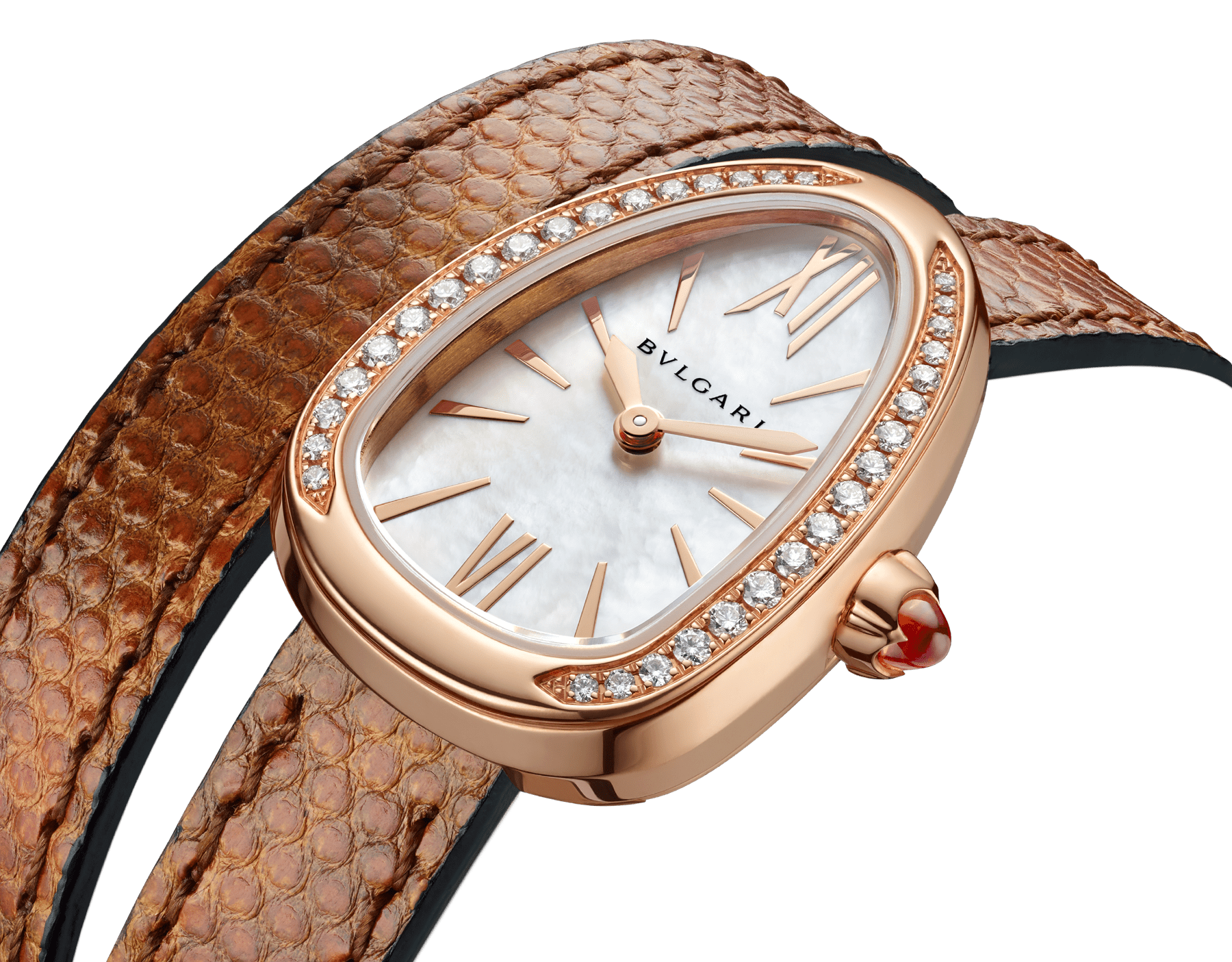 Serpenti watch with 18 kt rose gold case set with brilliant cut diamonds, white mother-of-pearl dial and interchangeable double spiral bracelet in brown karung leather. 102727 image 3