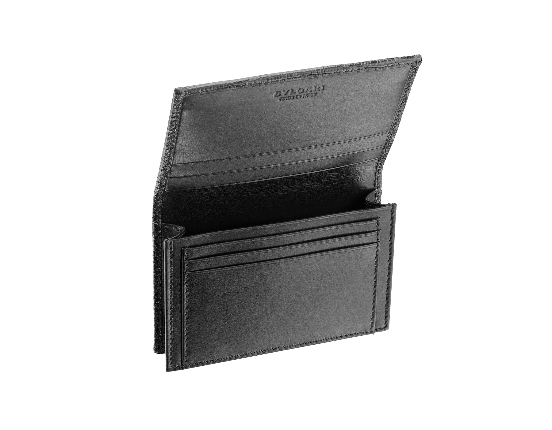 Business card holder in black shiny lizard skin and calf leather with brass palladium plated BVLGARI BVLGARI motif. Three credit card slots, one open pocket and Business cards compartment. 284396 image 2