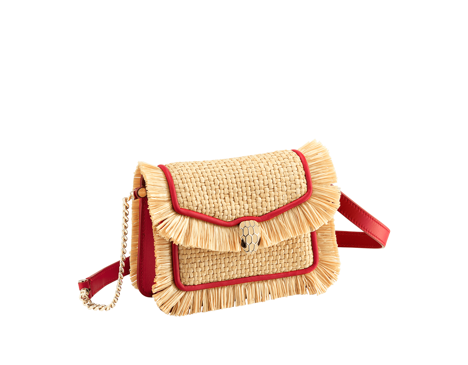 """""""Serpenti Forever"""" mini bag in beige raffia and Carmine Jasper red calfskin frames enhanced with beige raffia fringes, and Carmine Jasper red nappa leather internal lining. Light gold-plated brass snakehead closure enhanced with full matte Natural beige enamel and black onyx eyes. 290969 image 1"""