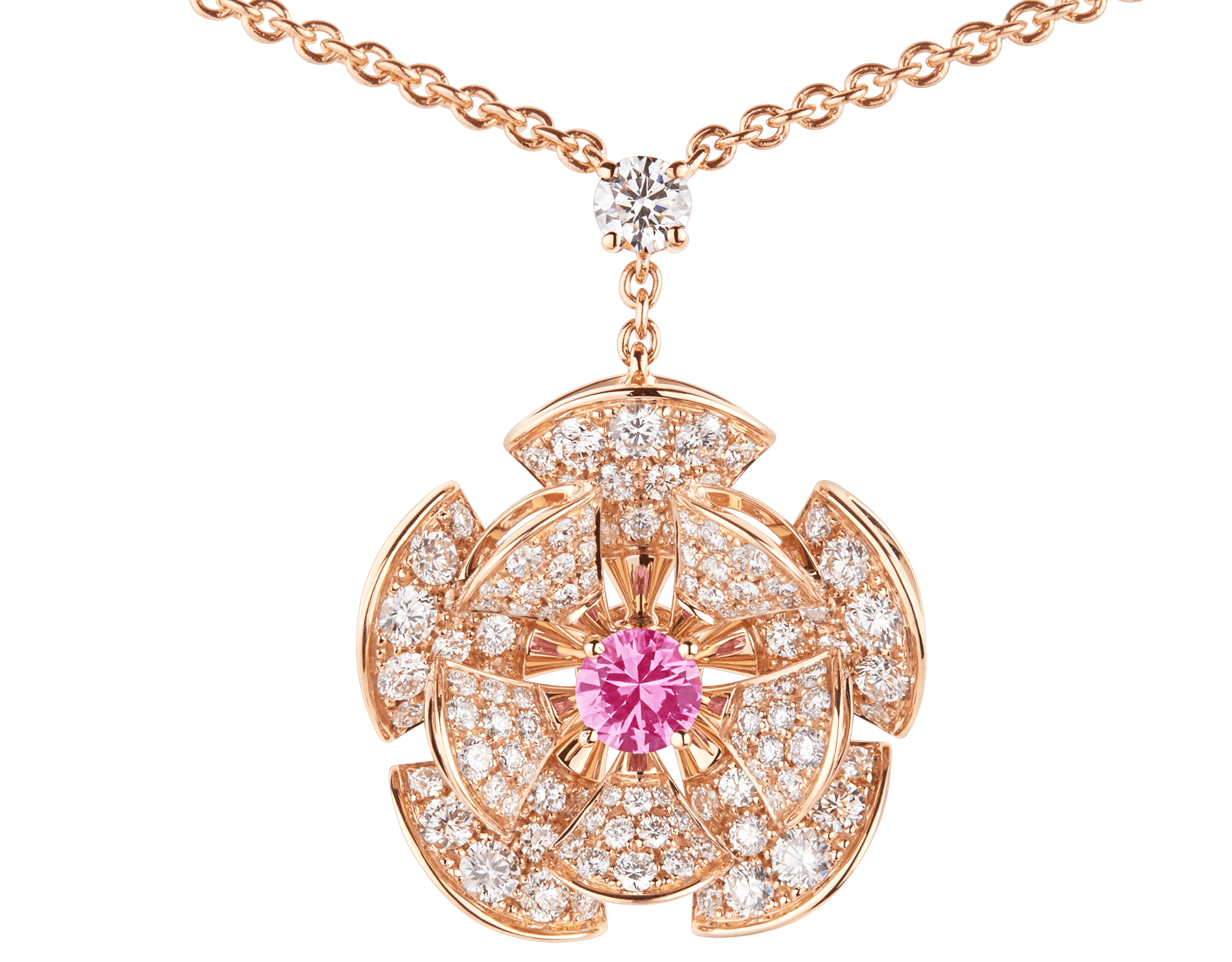 DIVAS' DREAM necklace in 18 kt rose gold with chain set with pink sapphires and a diamond, and with a pendant set with a central pink sapphire and pavé diamonds. 352628 image 3