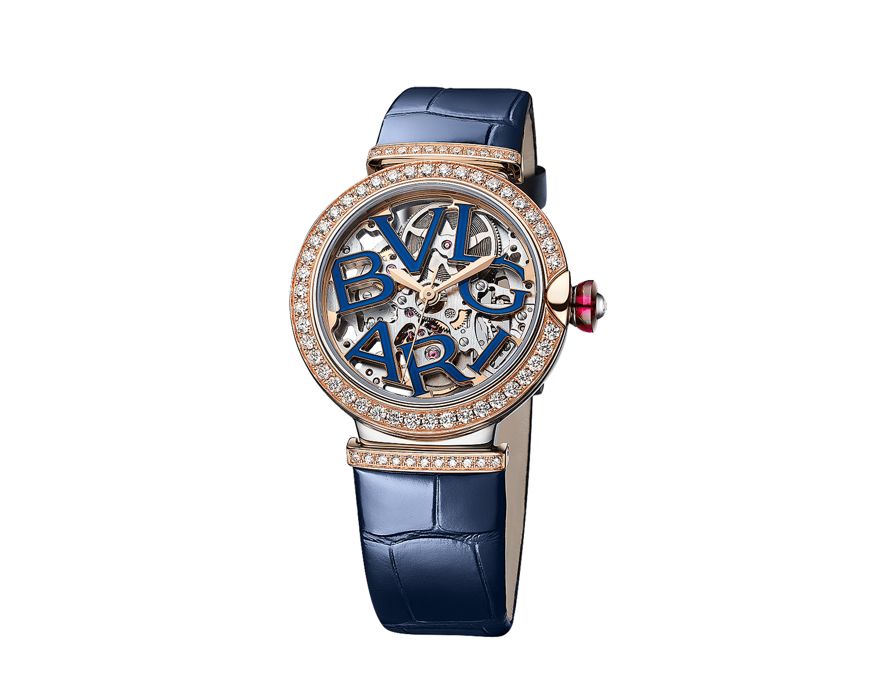 LVCEA Skeleton watch with mechanical manufacture movement, automatic winding and skeleton execution, polished stainless steel case, 18 kt rose gold bezel and links set with diamonds, blue lacquered openwork BVLGARI logo dial and blue alligator bracelet. Water-resistant up to 30 metres 103304 image 3