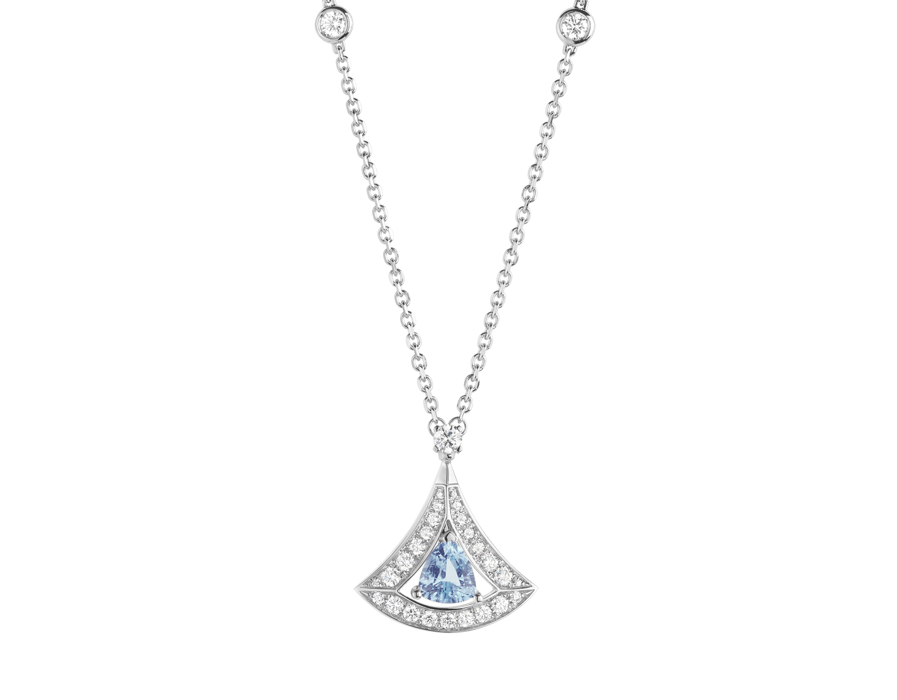 DIVAS' DREAM openwork necklace with 18 kt white gold chain set with diamonds and 18 kt white gold pendant with an aquamarine and set with pavé diamonds. 354052 image 1