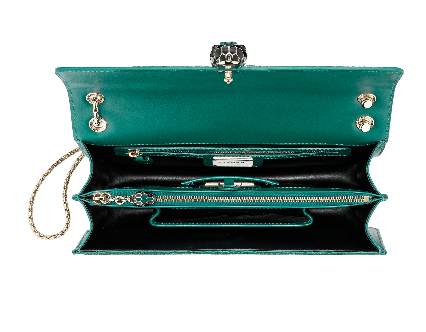 """Serpenti Forever"" shoulder bag in emerald green galuchat skin. Iconic snake head closure in light gold plated brass enriched with black enamel, malachite scales and black onyx eyes. 289026 image 4"