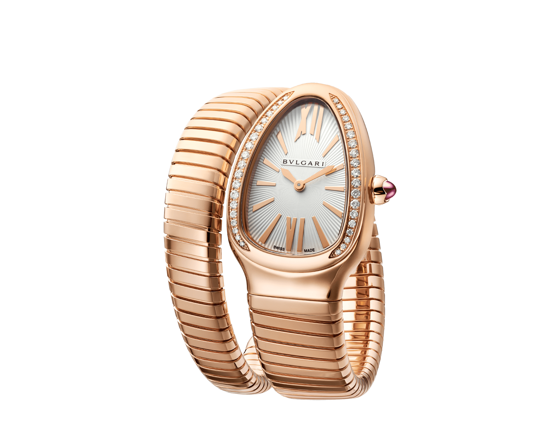 Serpenti Tubogas single spiral watch with 18 kt rose gold case set with brilliant-cut diamonds, silver opaline dial and 18 kt rose gold bracelet 103003 image 2